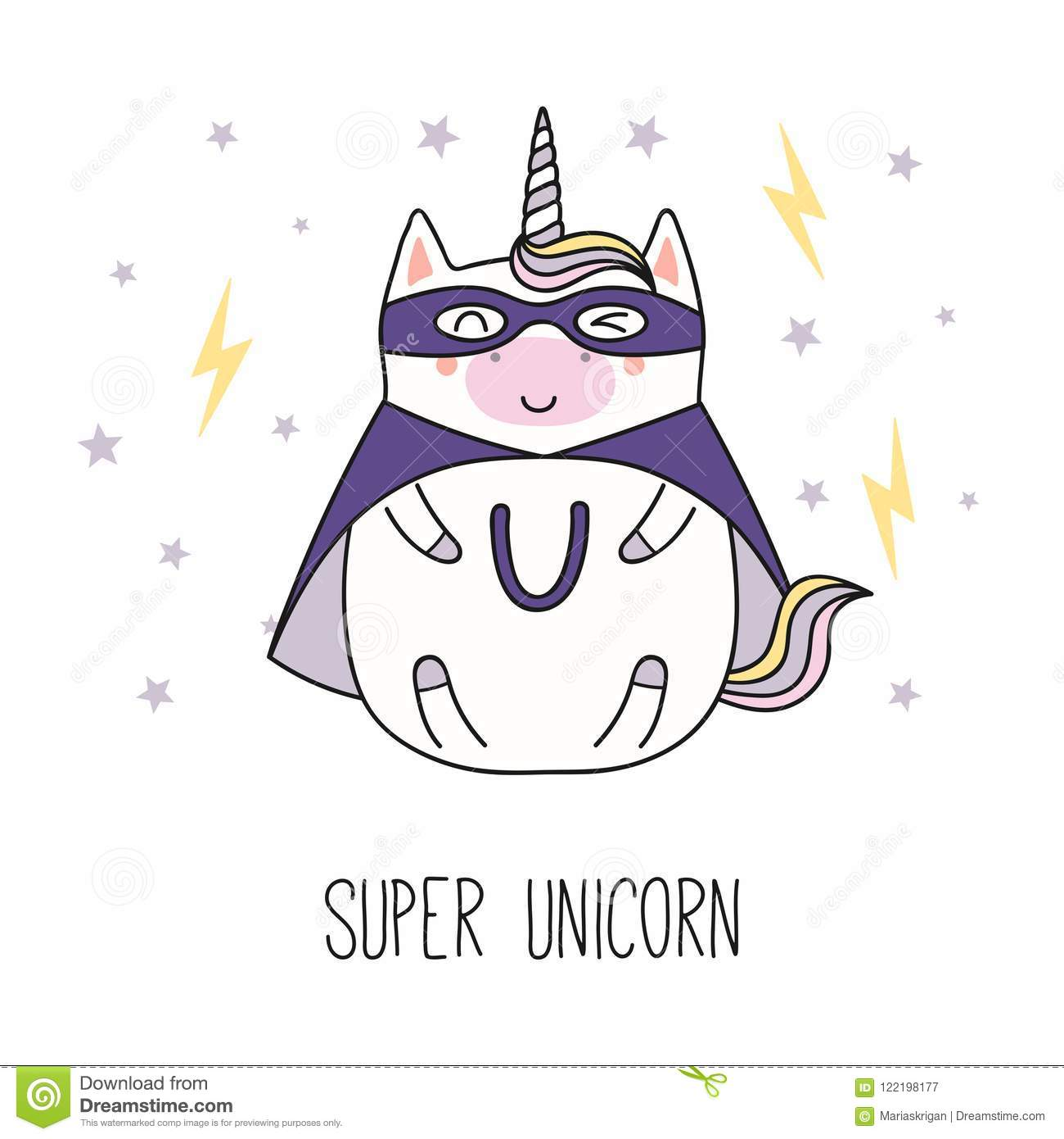Licorne De Super Héros De Kawaii Illustration De Vecteur