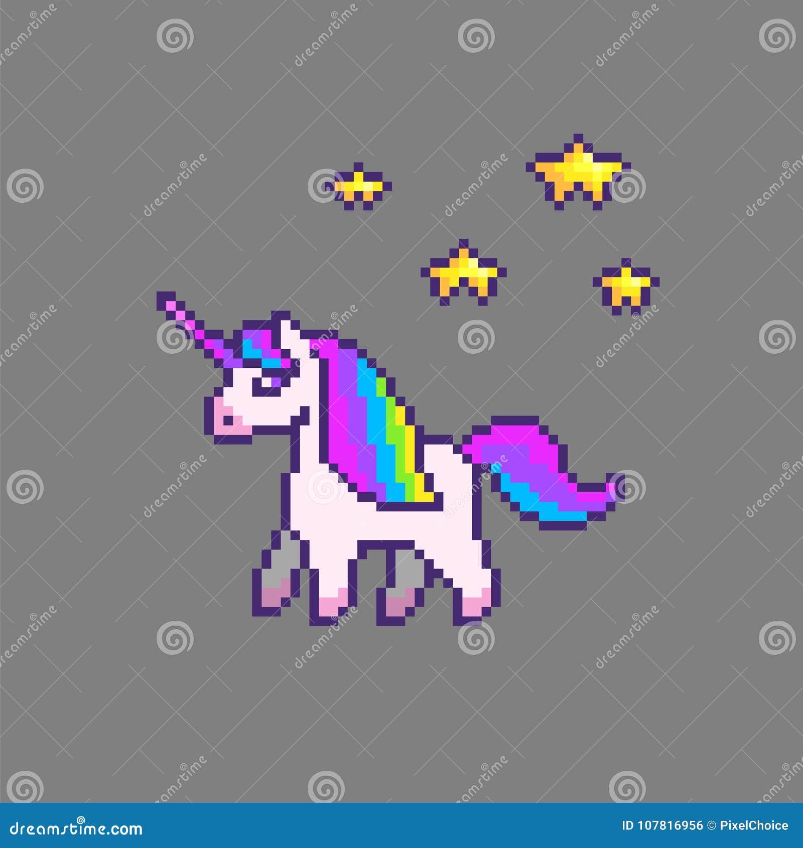 Licorne Mignonne Dart De Pixel Illustration De Vecteur