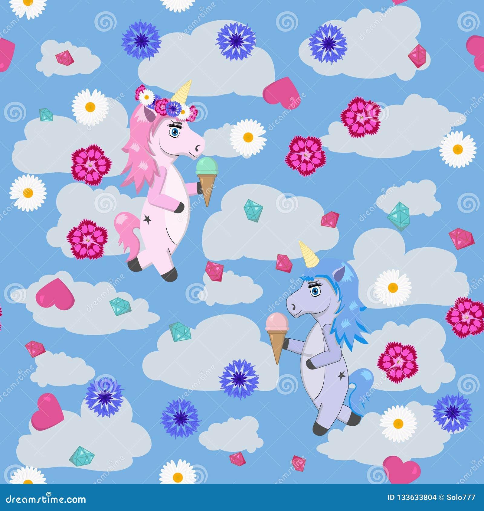 Licornes bleues et roses avec la crème glacée dans les mains contre le ciel avec des nuages