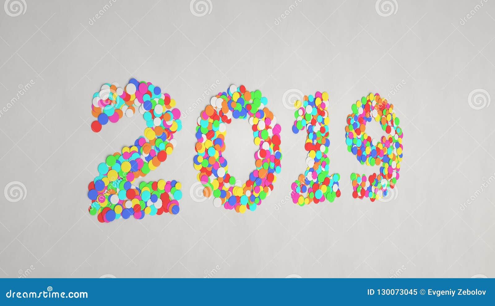 2019 liczb robić od kolorowych confetti