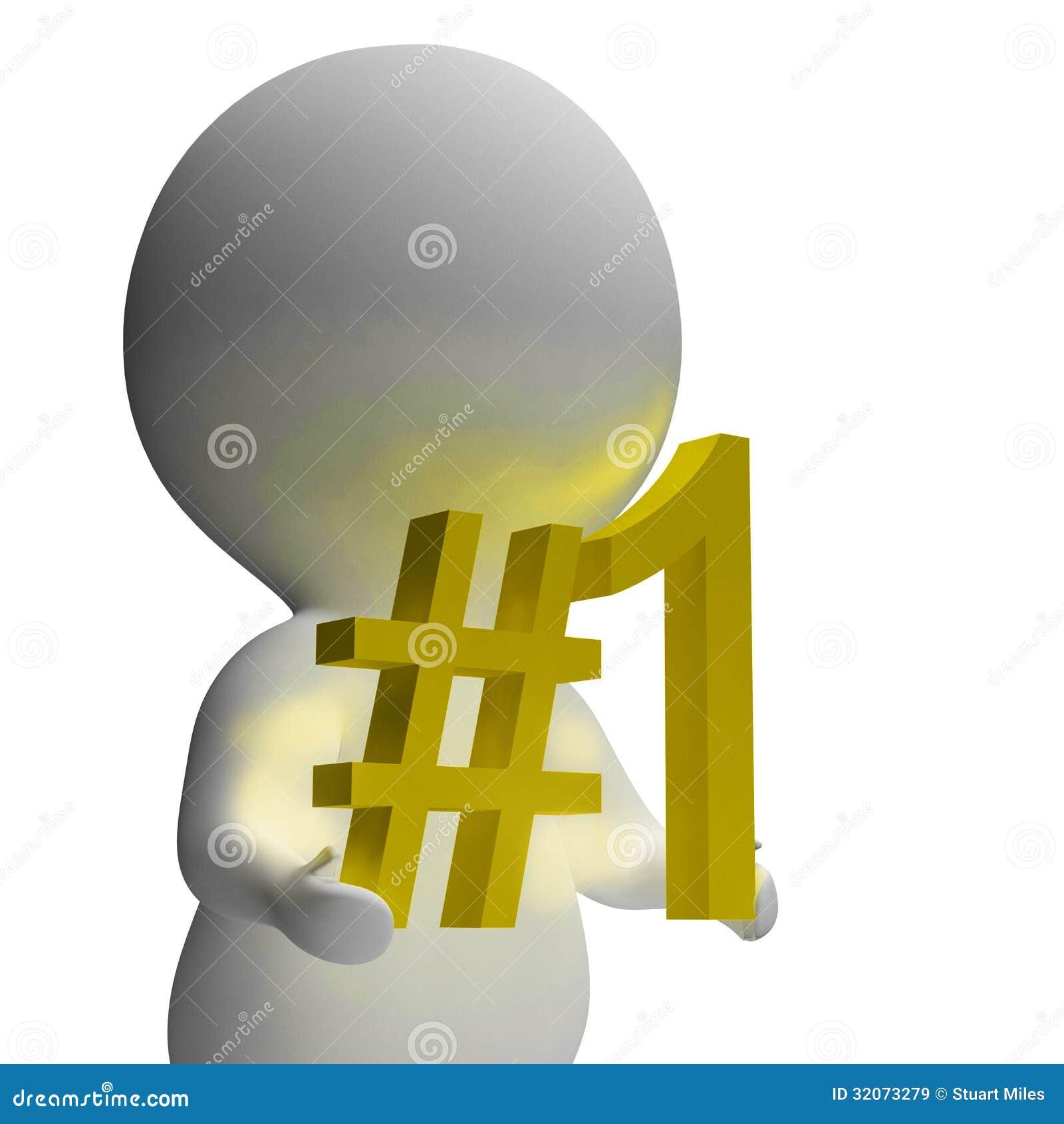 Liczby Jeden 3d charakter Pokazuje Pierwszy miejsce