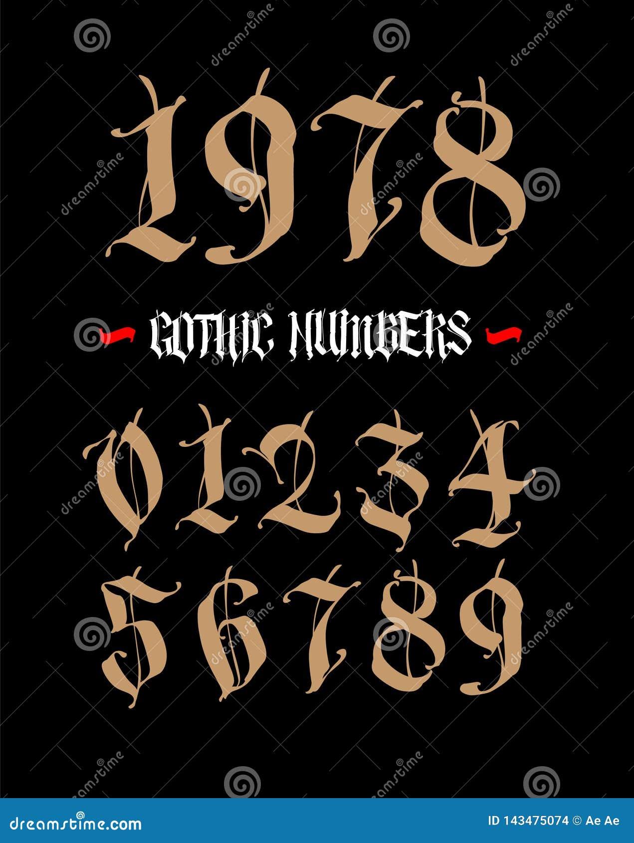 Liczby s? w gotyka stylu wektor Symbole odizolowywaj?cy na bia?ym tle Kaligrafia i literowanie ?redniowieczne postacie