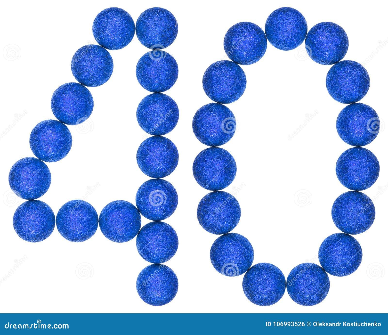 Liczebnik 40, czterdzieści, od dekoracyjnych piłek, odizolowywać na bielu plecy