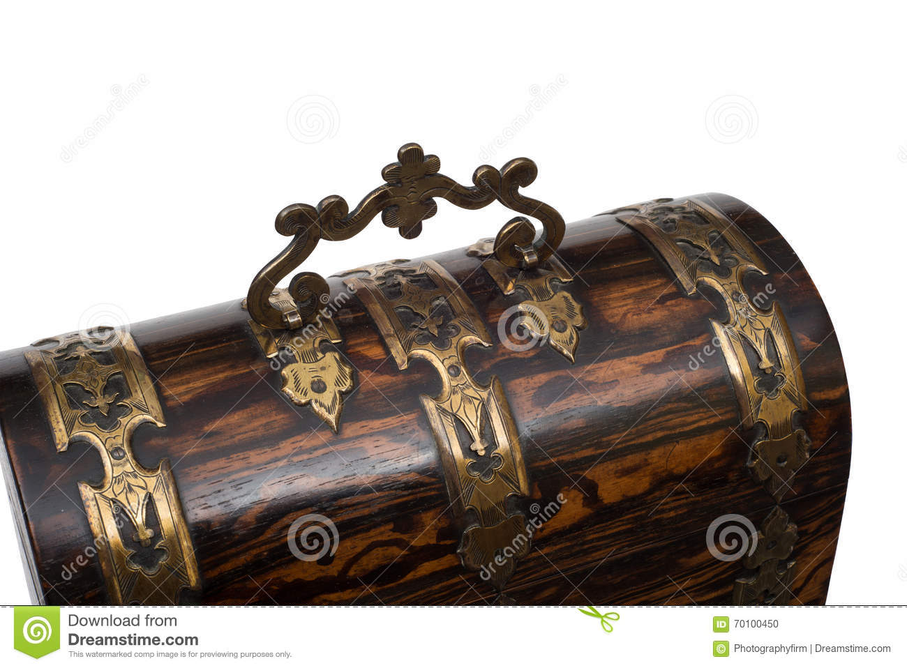 Lid Handle Of A Vintage Wooden Jewelry Box Stock Photo Image Of