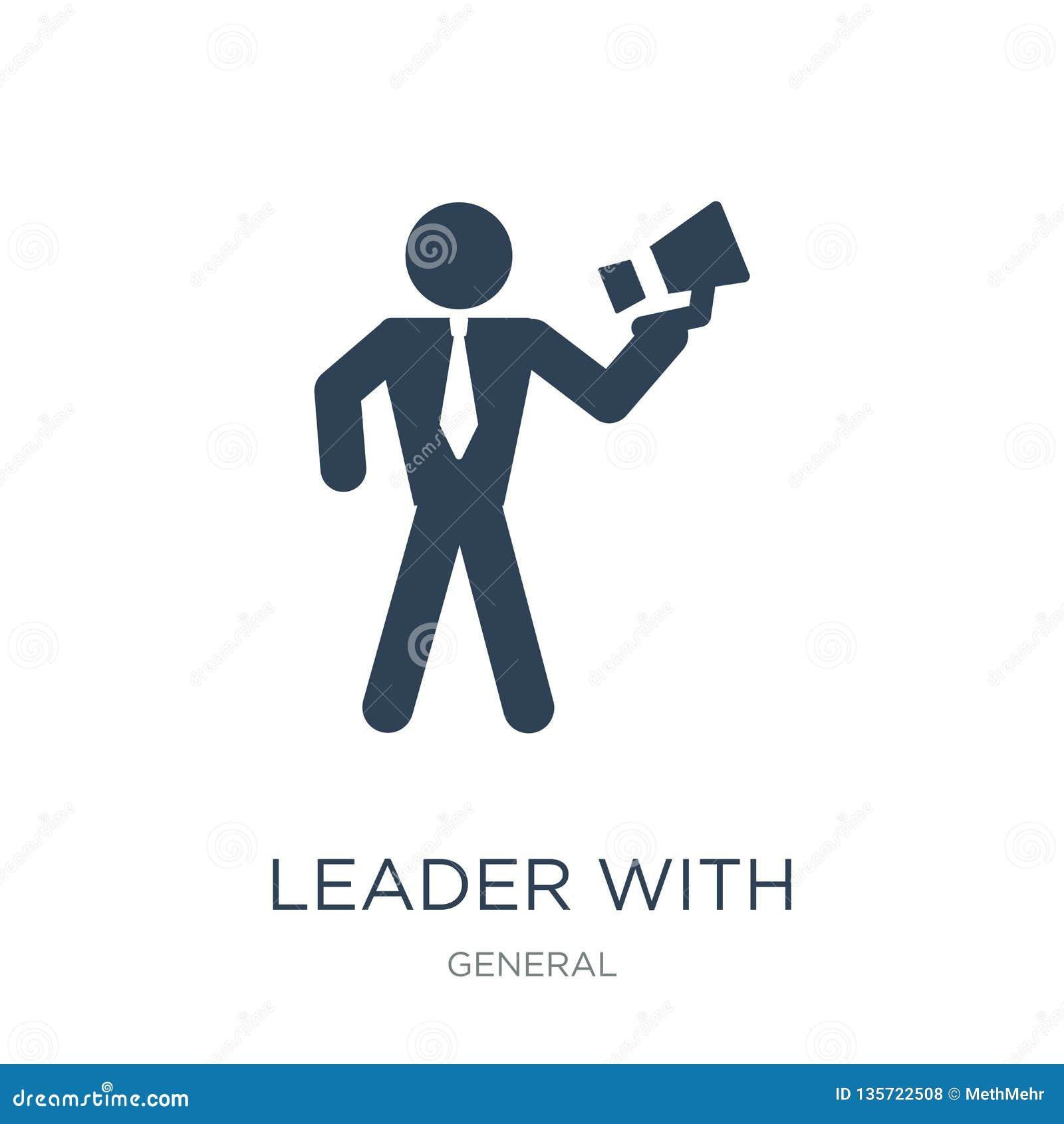 Lider z głośnik ikoną w modnym projekta stylu lider z głośnik ikoną odizolowywającą na białym tle lider z