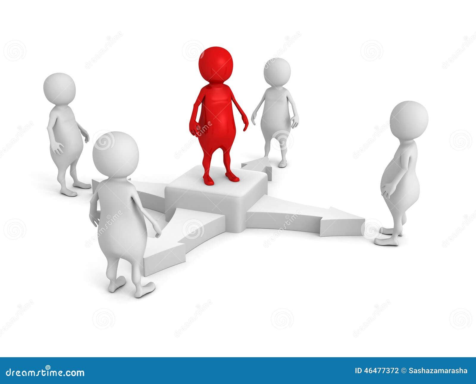 Lider zespołu w centrum biznesu 3d grupy ludzie