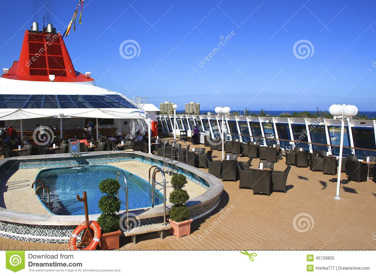 Download Lido deck of a cruise ship editorial image. Image of lush - 45729855