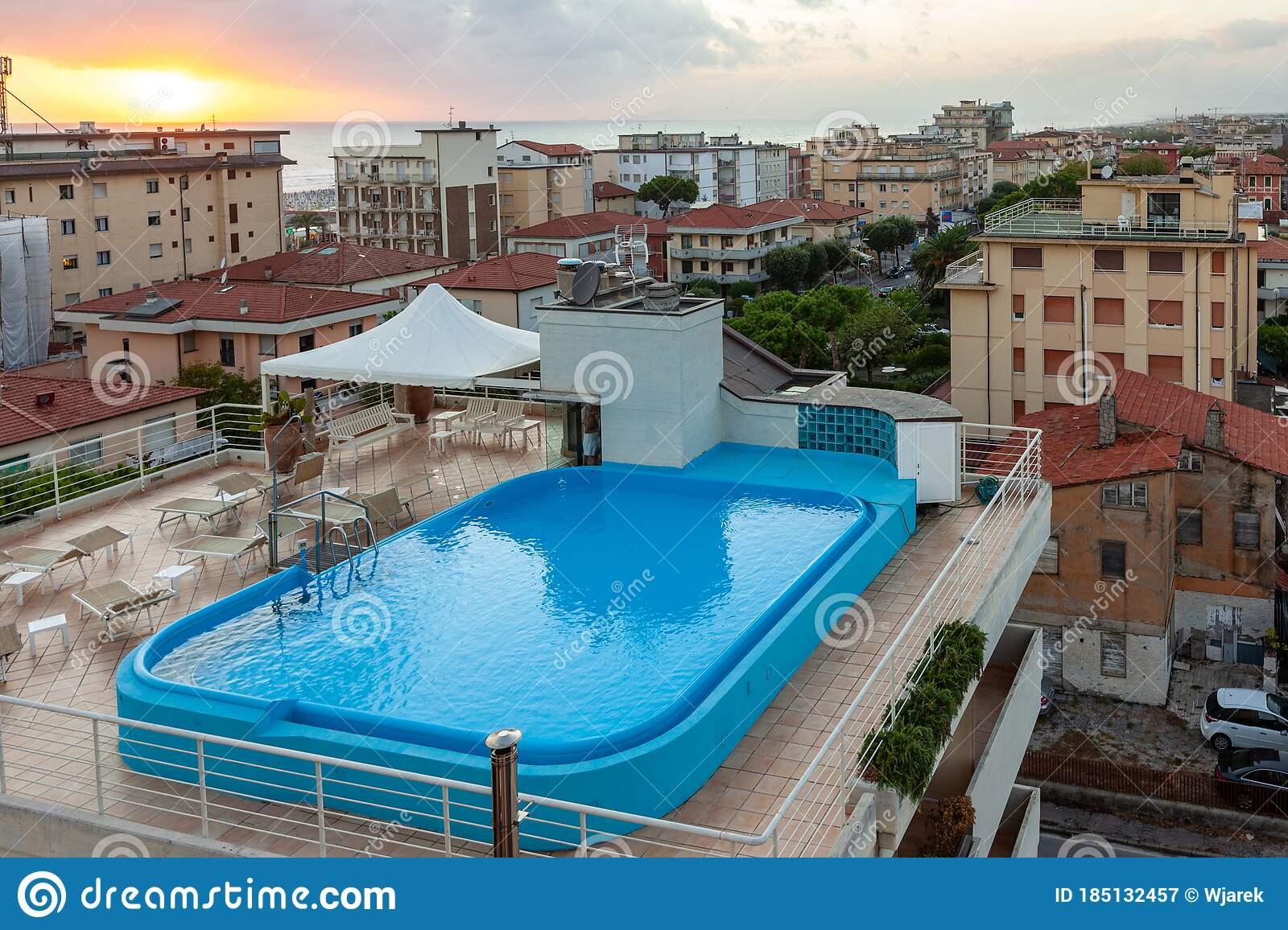 Hotel Rooftop Swimming Pool In Lido Di Camaiore Italy Editorial Photography Image Of Pool Italy 185132457