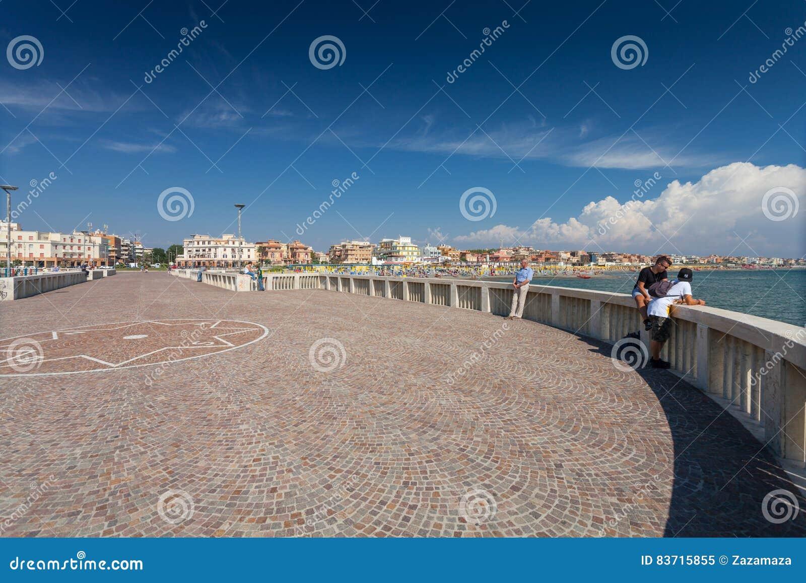Lido Di Ostia, ITALY - September 14, 2016: Relaxing People On The Pier Pontile Di Ostia Near Beautiful Beach Lido Di Ostia Li Editorial Image