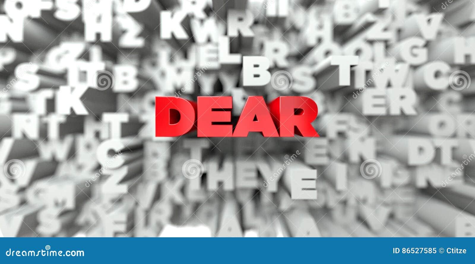 LIEB - Roter Text auf Typografiehintergrund - 3D übertrug freies Archivbild der Abgabe