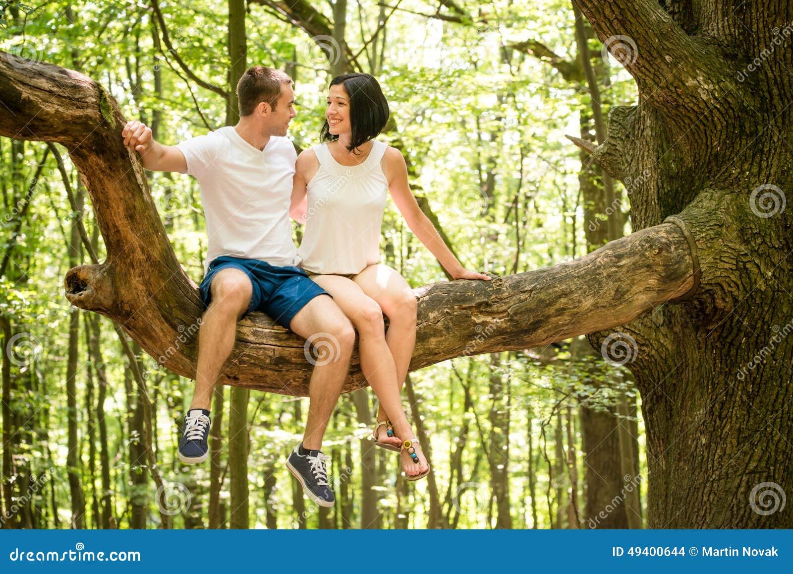 Download Liebe - Datum am Baum stockfoto. Bild von wald, sitting - 49400644