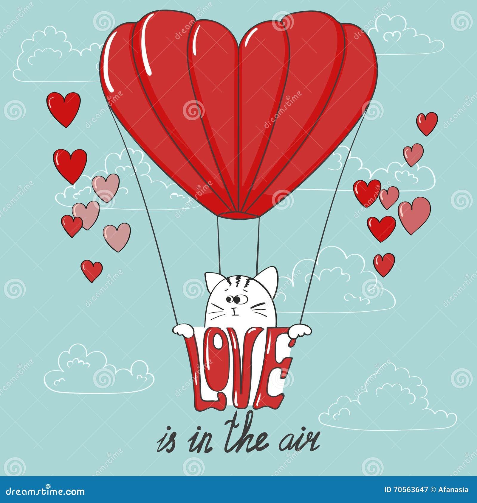 Valentinsgrußkarte Mit Einem Herz-förmigen Heißluftballon Und Einem ...