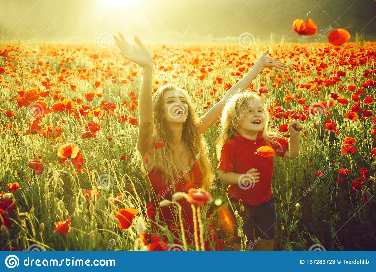 Liebe und Familie, glückliche Mutter und Kind auf dem Mohnblumengebiet