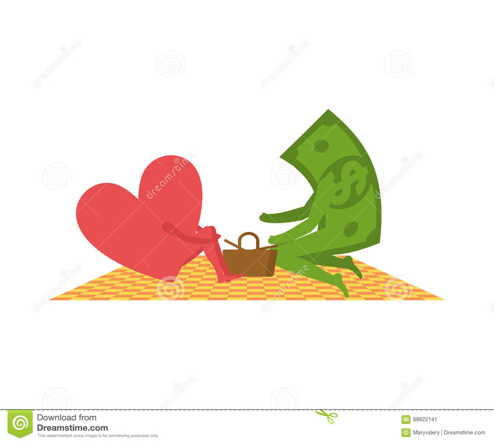Liebe Und Geld Auf Picknick Verkauf Von Liebe Dollar Und