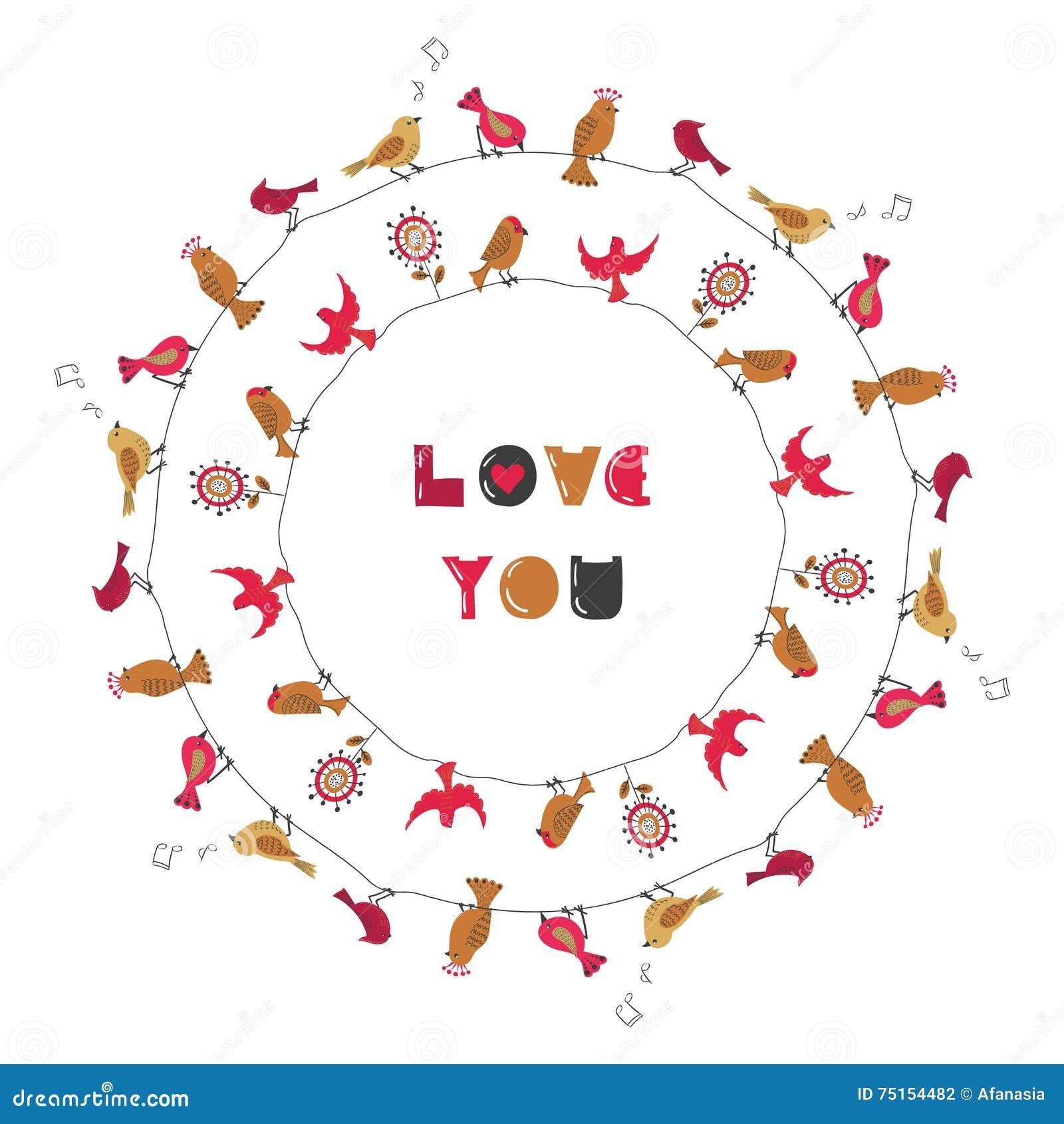 Lieben Sie Sie, Runden Vögel Rahmen Vektor Abbildung - Illustration ...
