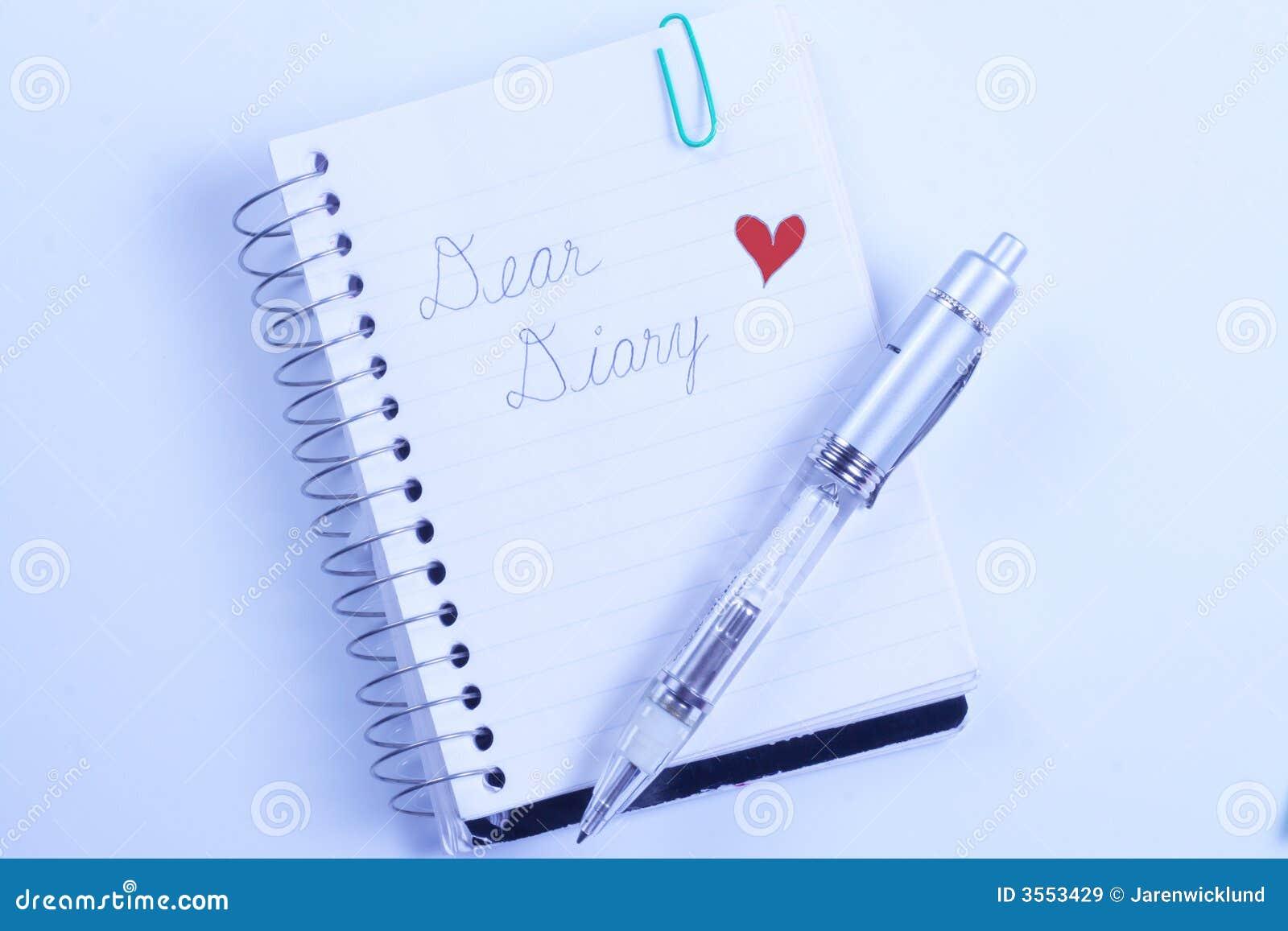 Liebes Tagebuch mit Feder