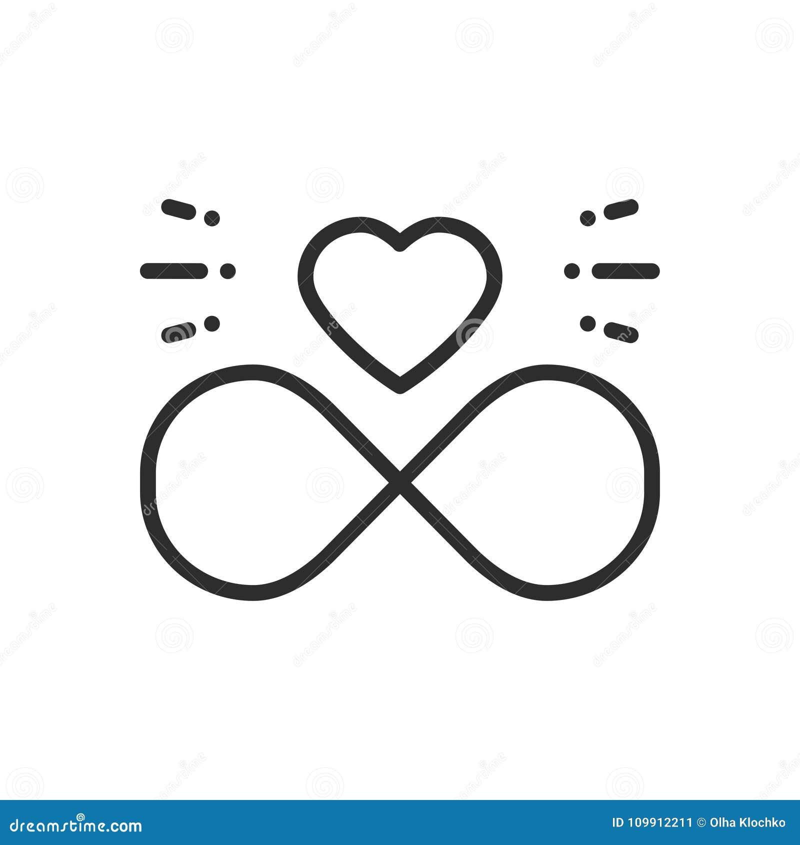 Liebeslinie Unbegrenzte Herzikone Gluckliches Valentinstagzeichen