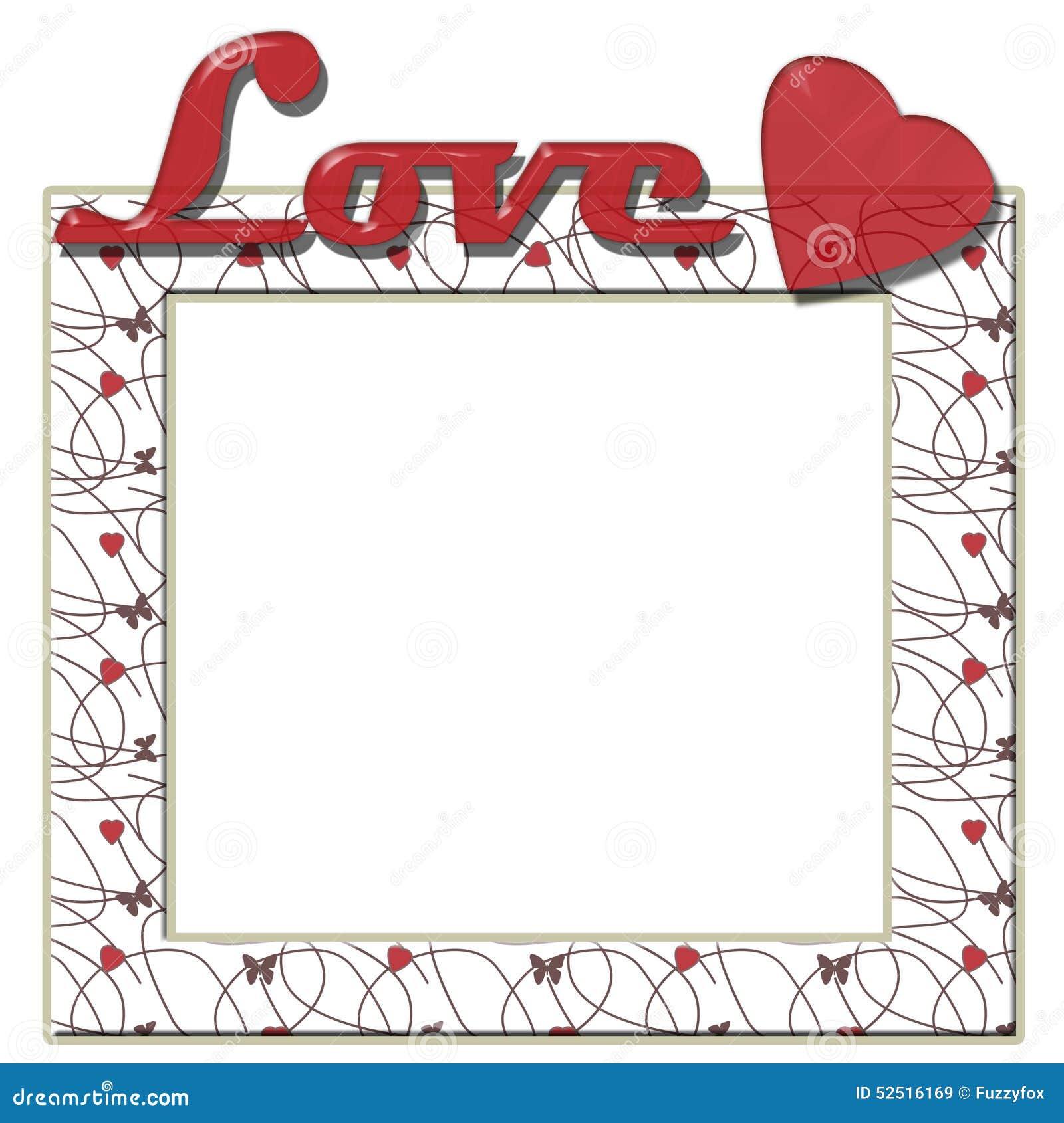 Liebesrahmen Mit Herzen Und Text Stock Abbildung - Illustration von ...