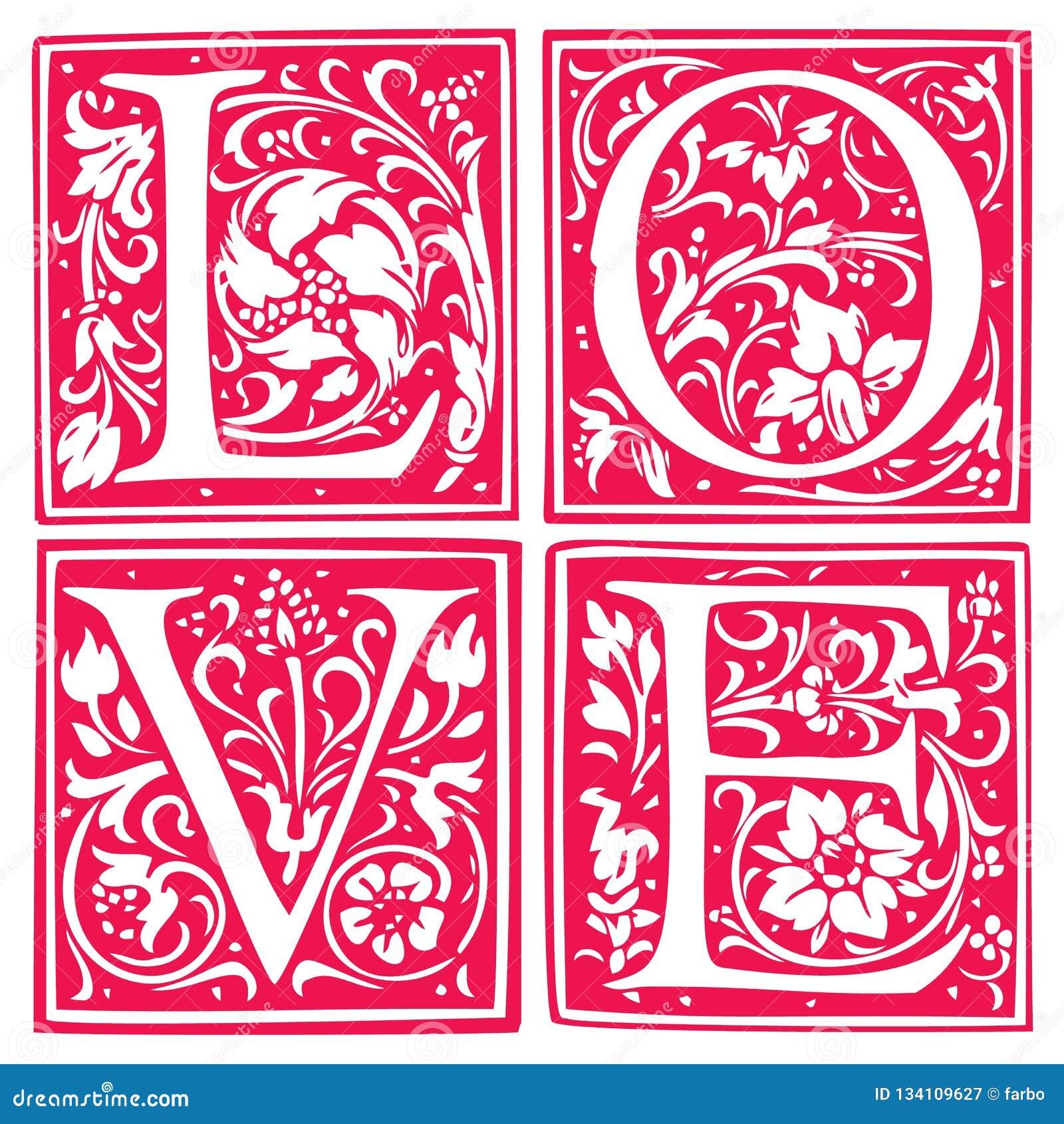 Liebeswort gemacht von den Blumen und von den Blättern Hochzeitseinladungsdesign Vektor-Kunstillustration auf einem weißen Hinter