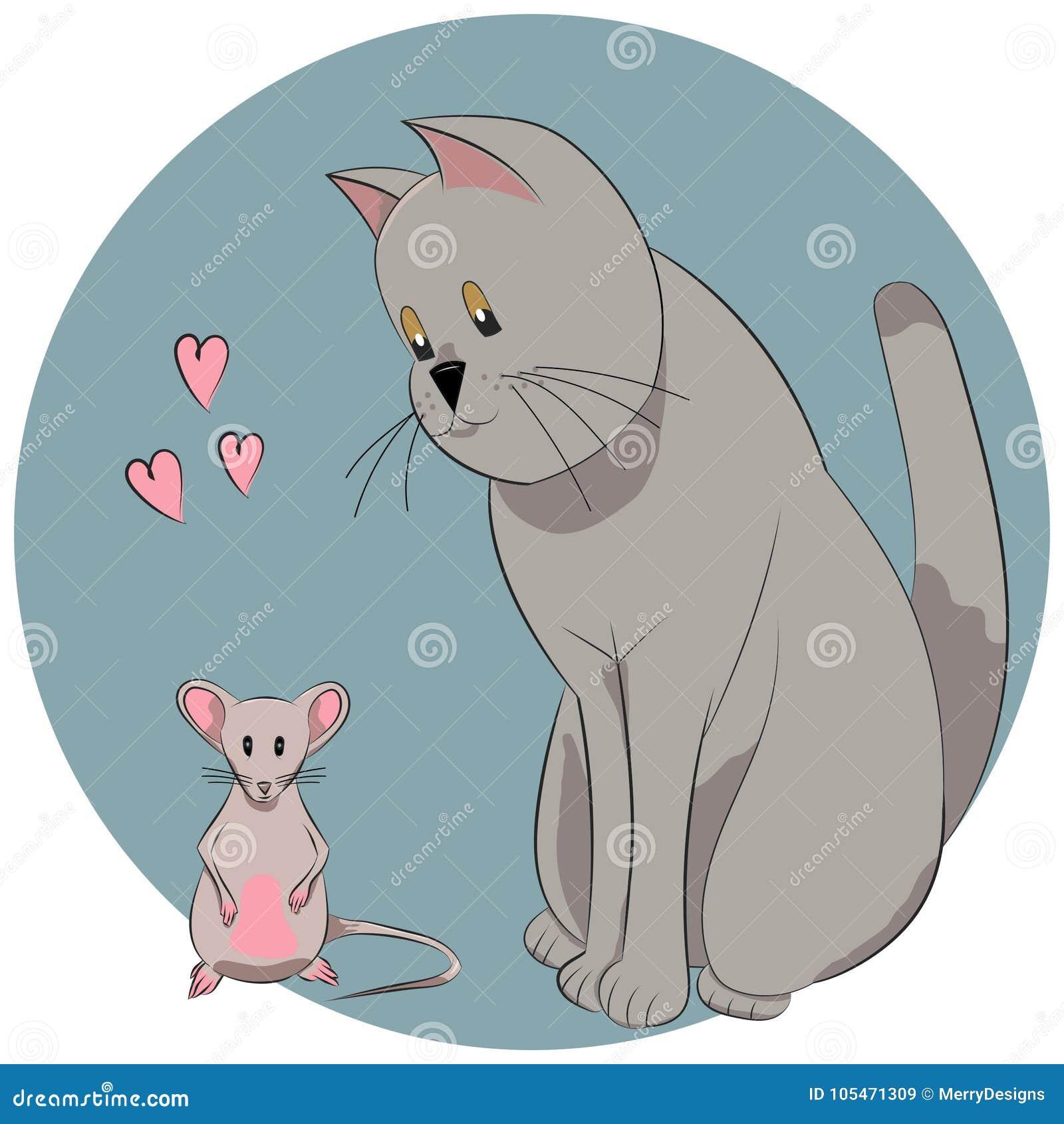 liebevolle katze und maus mit herzen vektor abbildung