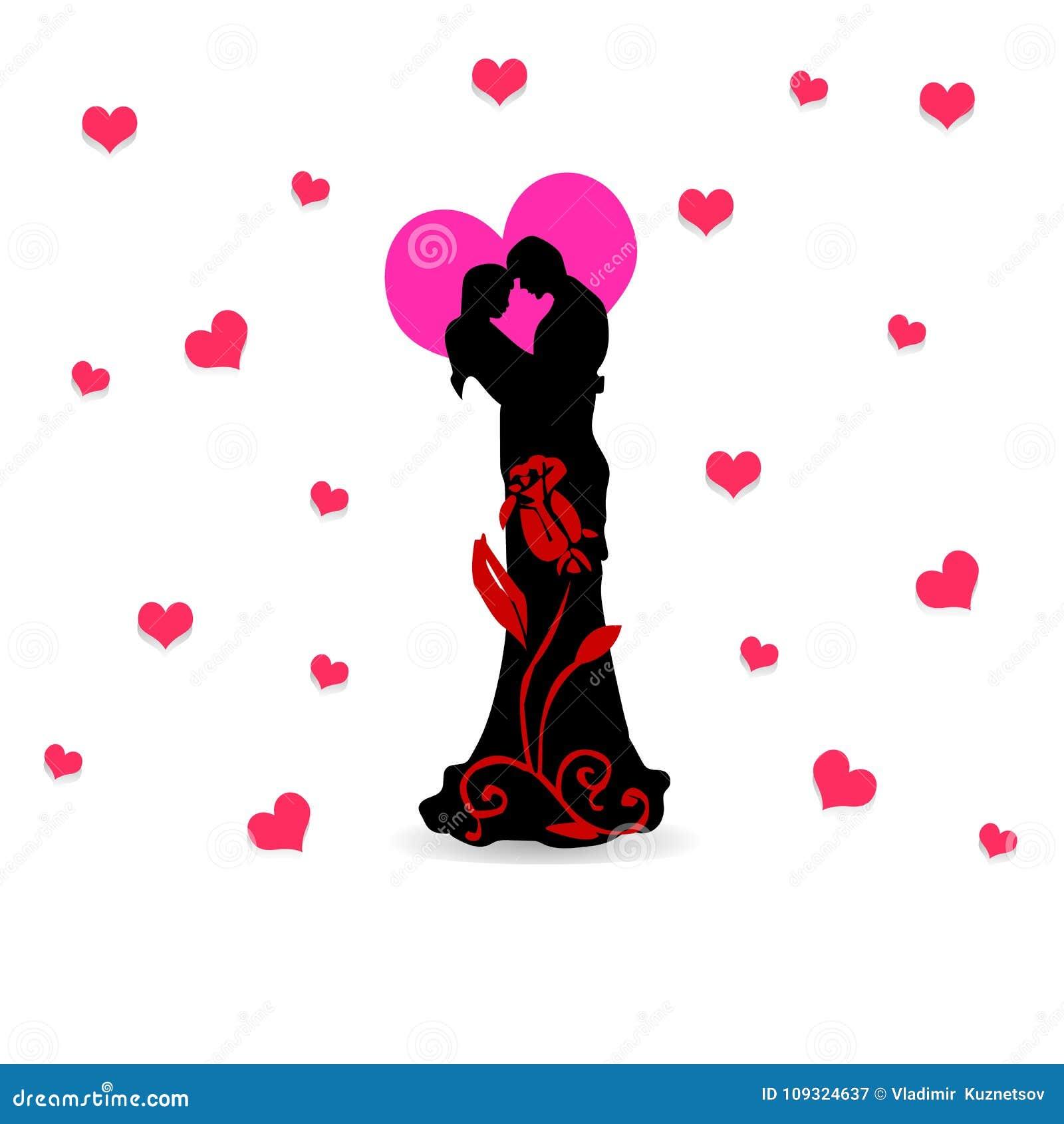 Liebevolles verziertes Rosafarbenes der Paare schön und Herz, Collage FO