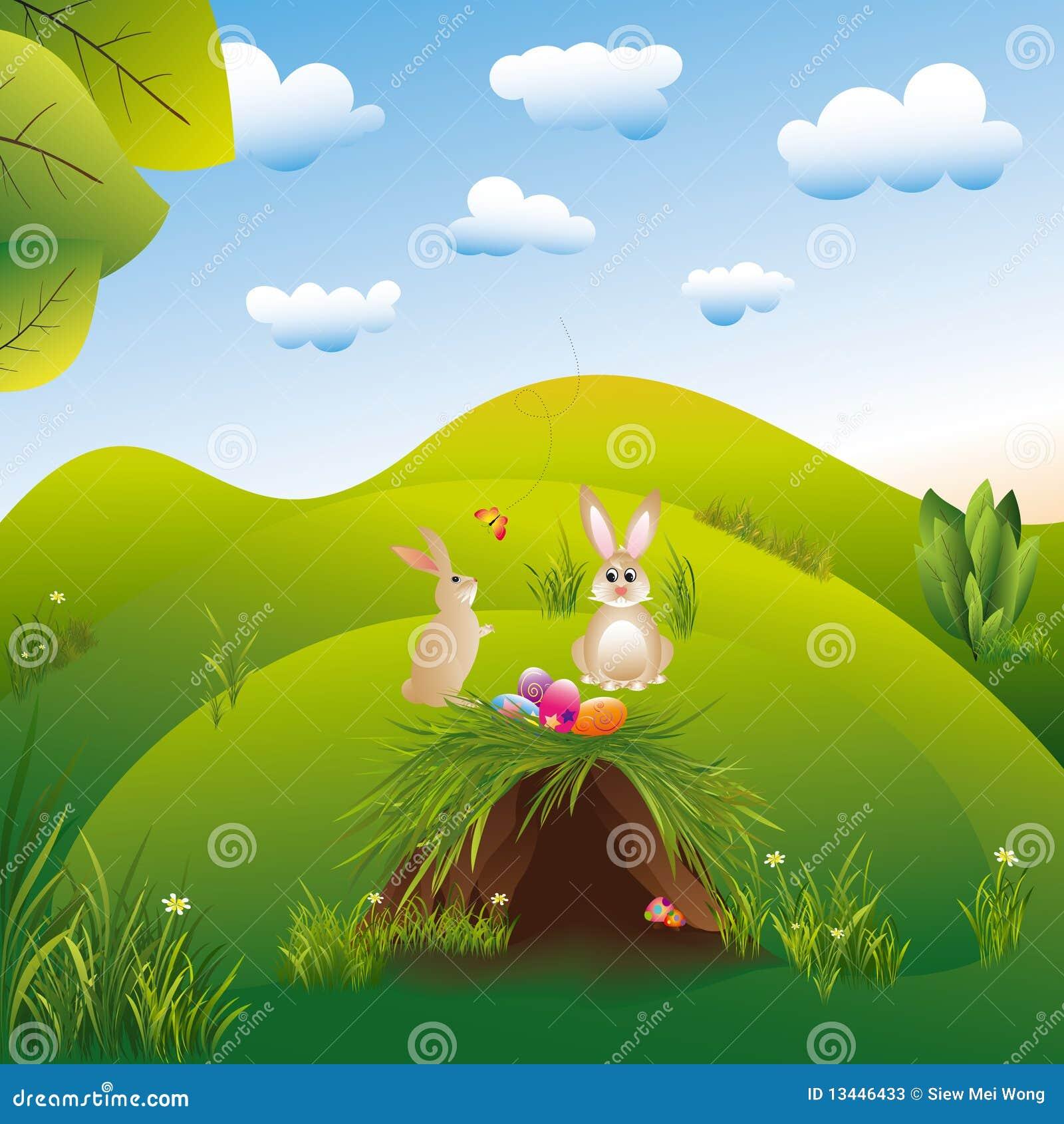 Liebres del landspace del día de fiesta de Pascua en el país de las maravillas