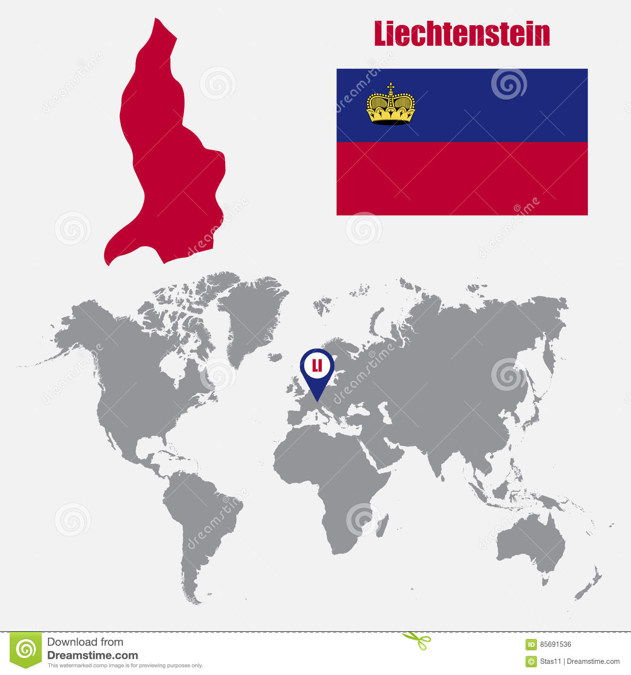 Liechtenstein Map On A World Map With Flag And Map Pointer Vector