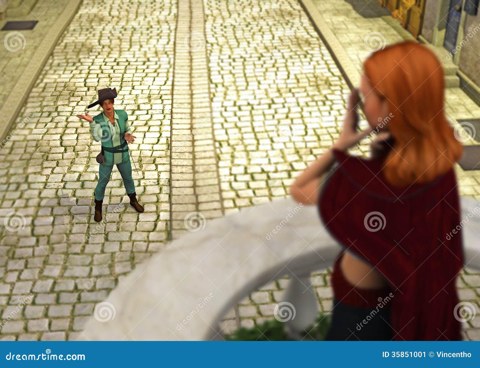 Lied-Gedicht-Prinzessin Prinz-Singing Reciting Love