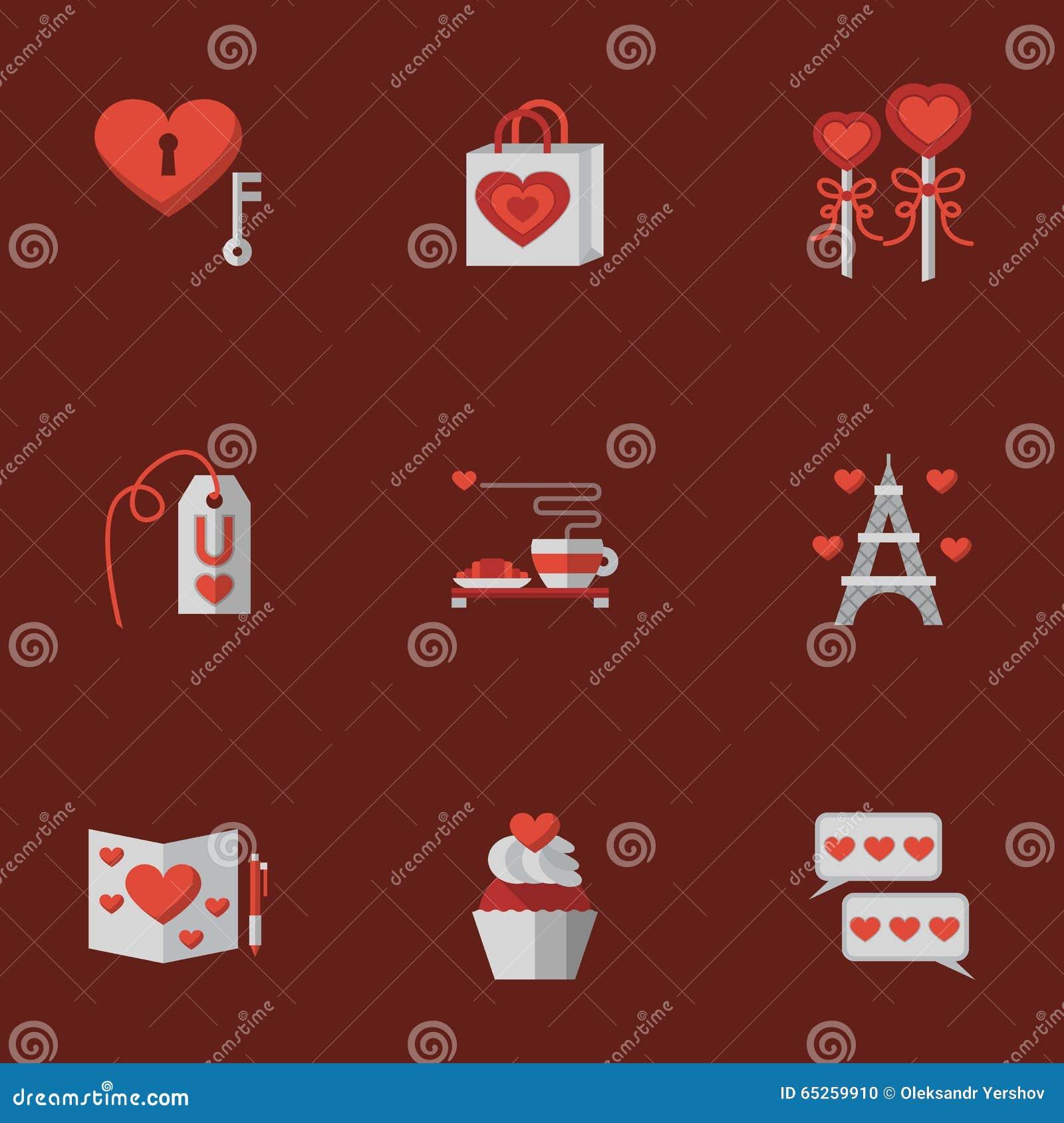 Liefde vlakke pictogrammen op rood