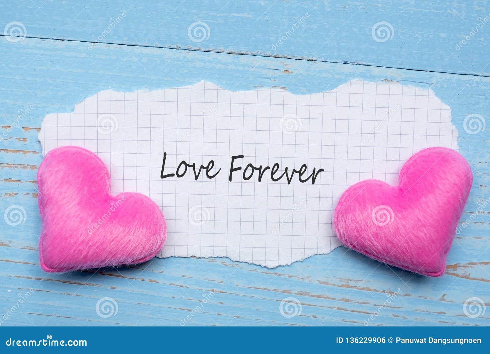 LIEFDE VOOR ALTIJD woord op document nota met de vormdecoratie van het paar roze hart op blauwe houten lijstachtergrond Romantisc