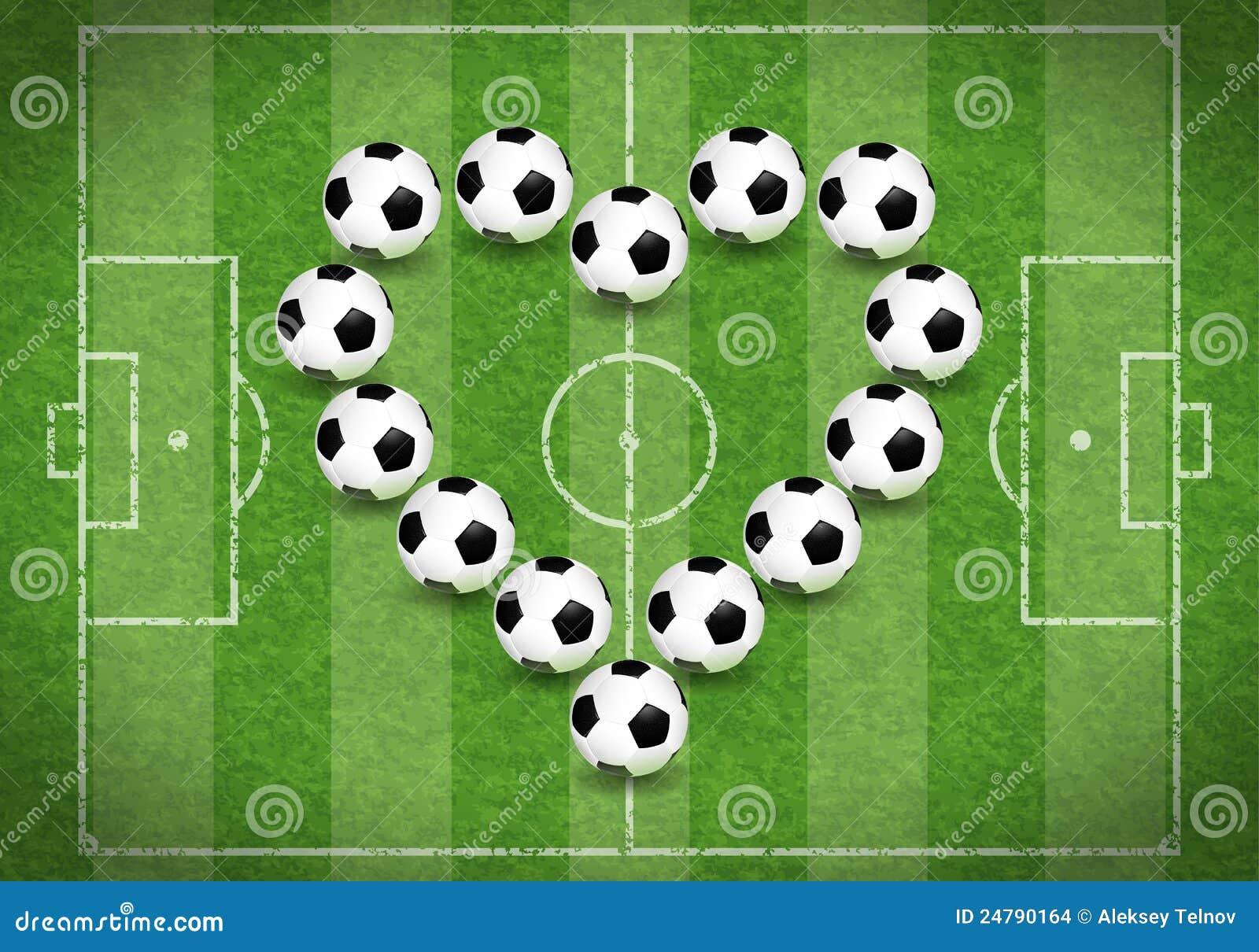Het Gebied van de voetbal met Hart van Ballen, vectorillustratie.