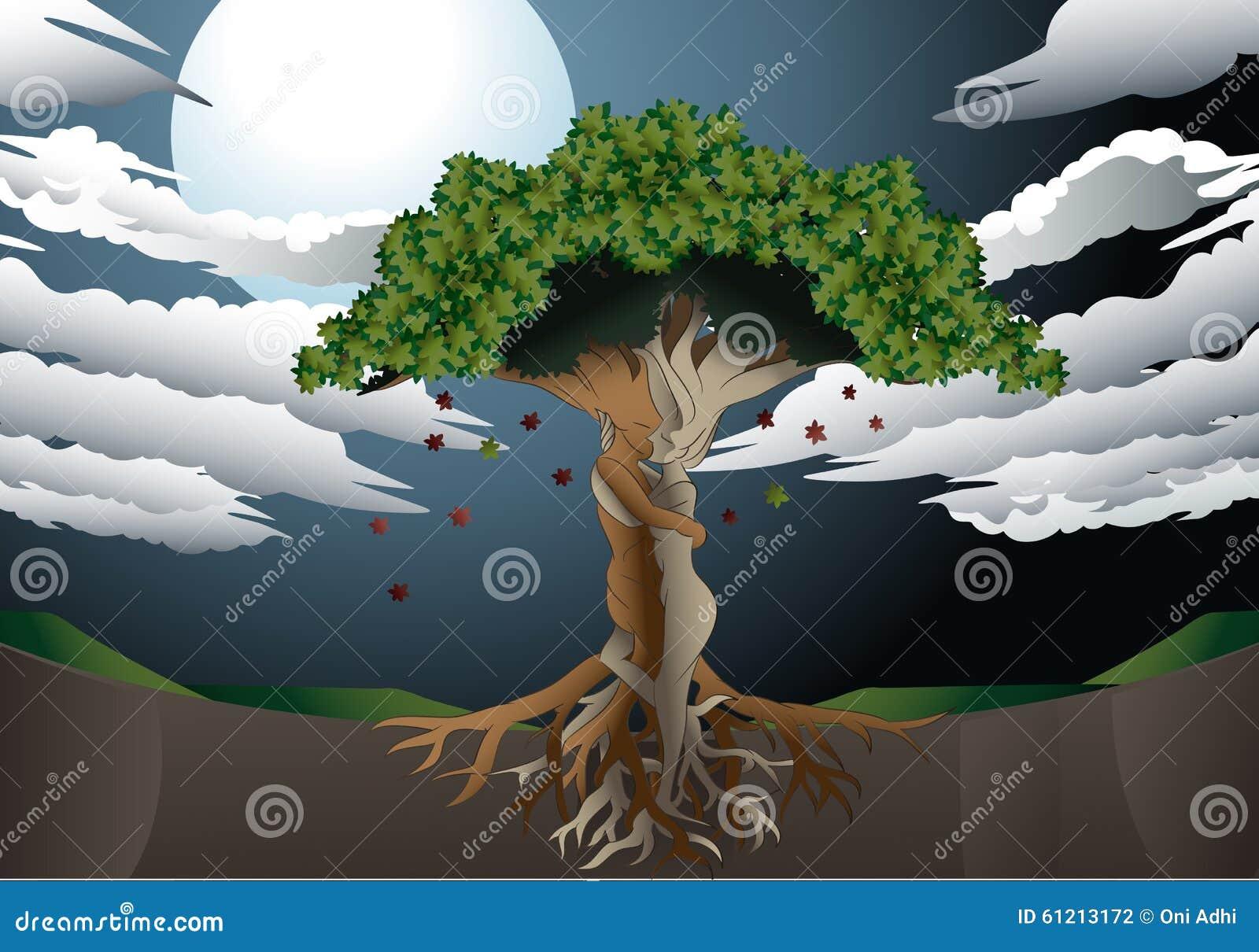 Liefdeboom op volle maanachtergrond