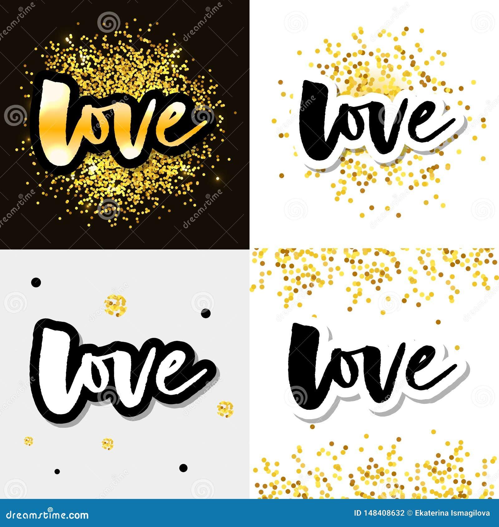 Liefdeembleem de vector het van letters voorzien reeks van de slogankalligrafie