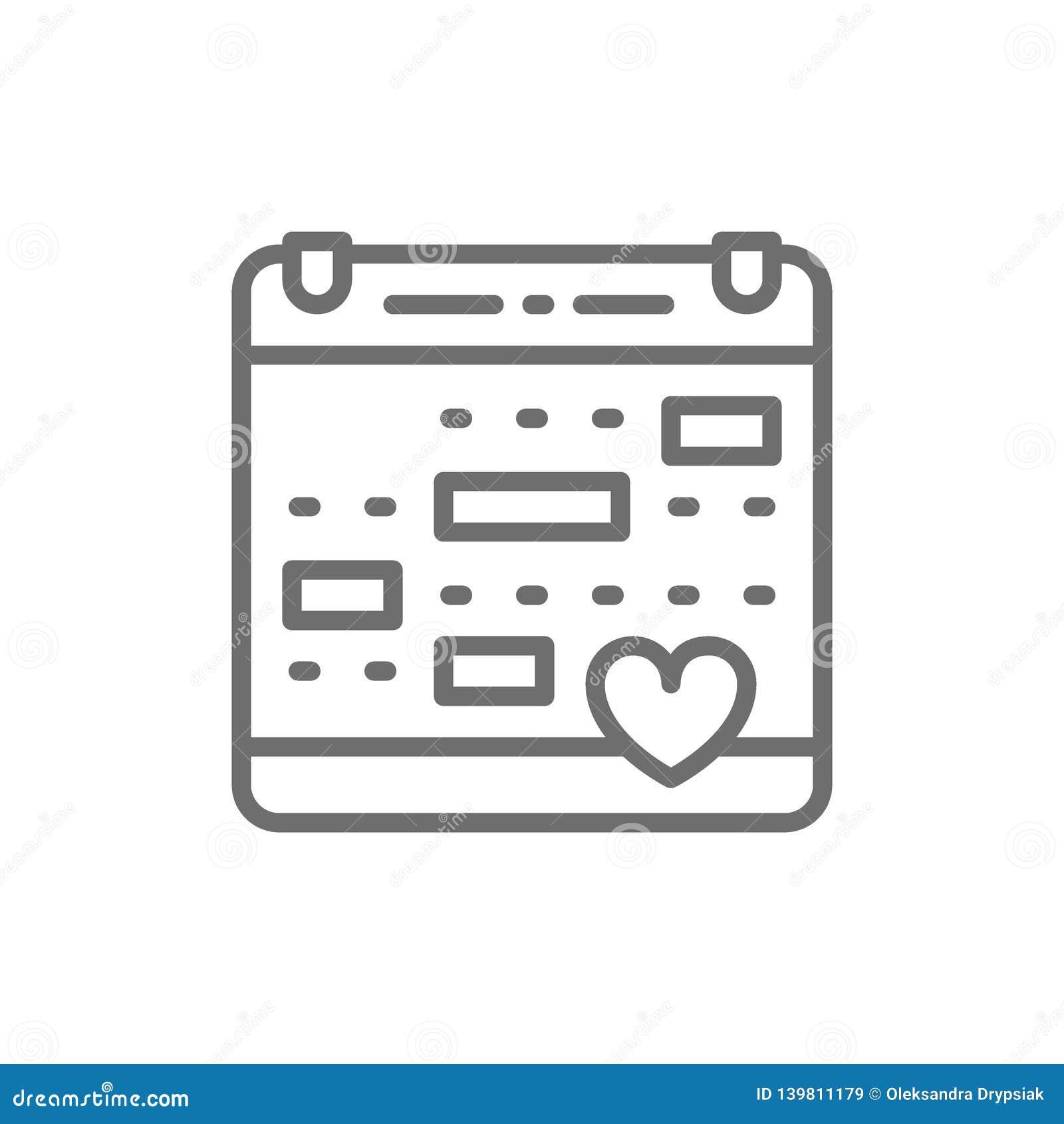 Liefdekalender, huwelijksdatum, de lijnpictogram van de valentijnskaartendag