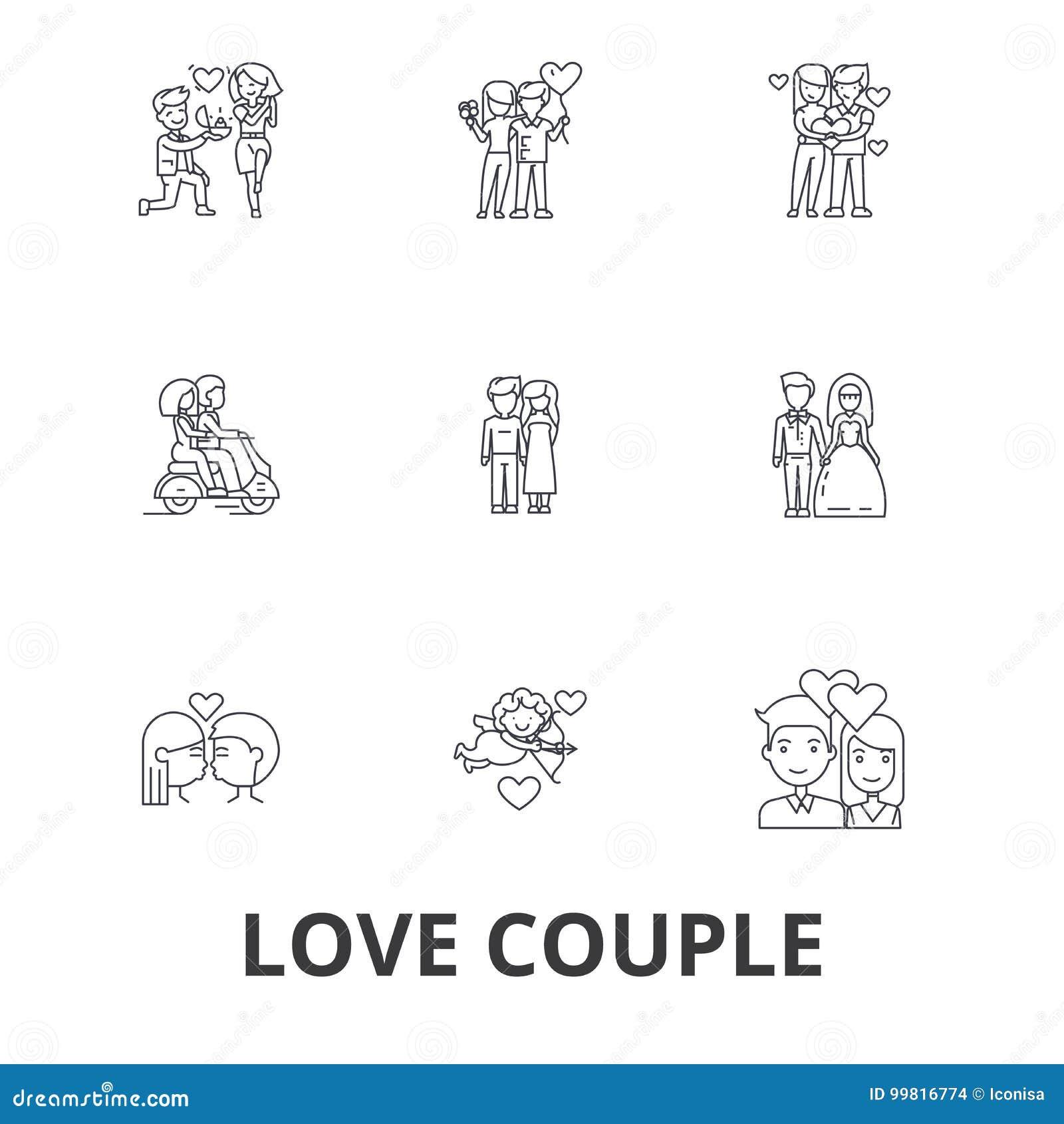 Liefdepaar, romantisch, liefdehart, het kussen, liefdevogels, gelukkig paar, de pictogrammen van de valentijnskaartlijn Editables
