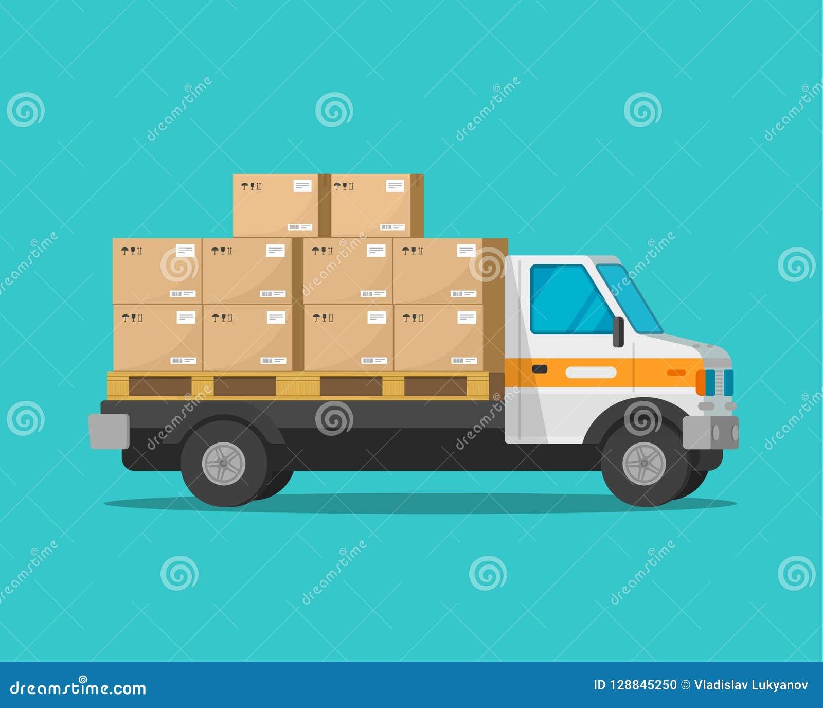 Lieferwagen mit Paketfracht packt Vektorillustration, flachen Karikaturfrachtpackwagen oder Lastwagenautomobil mit Paketen ein