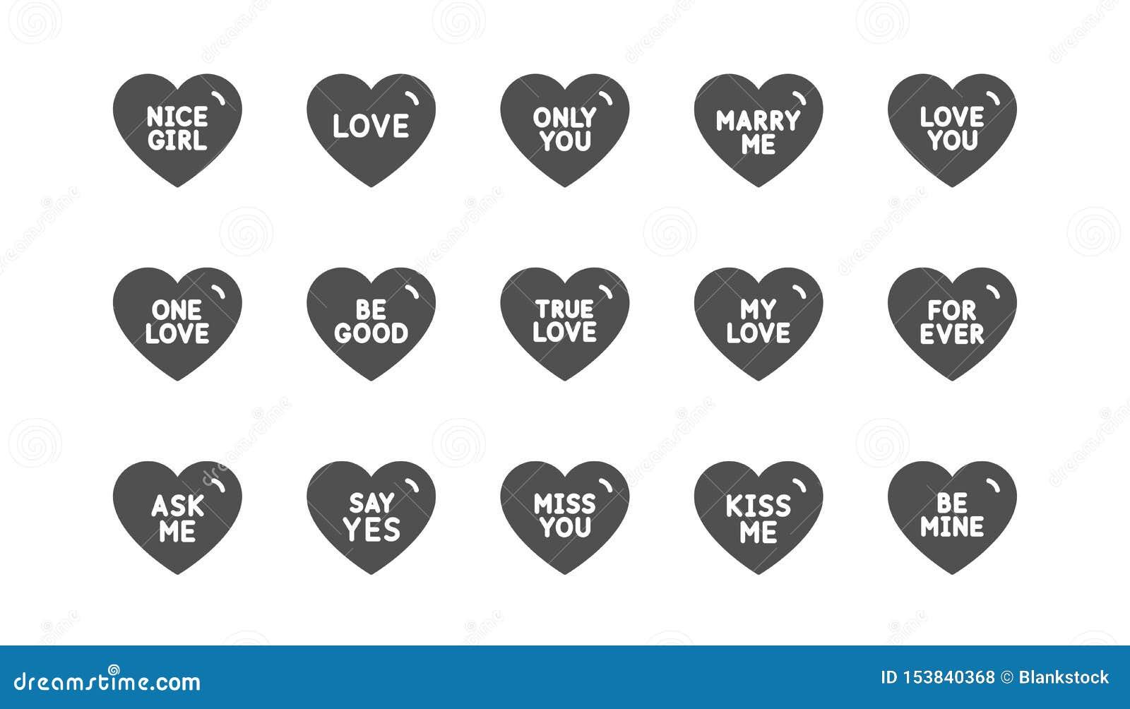 Liefjepictogrammen Liefje voor valentijnskaartendag, liefdehart Klassieke reeks Vector