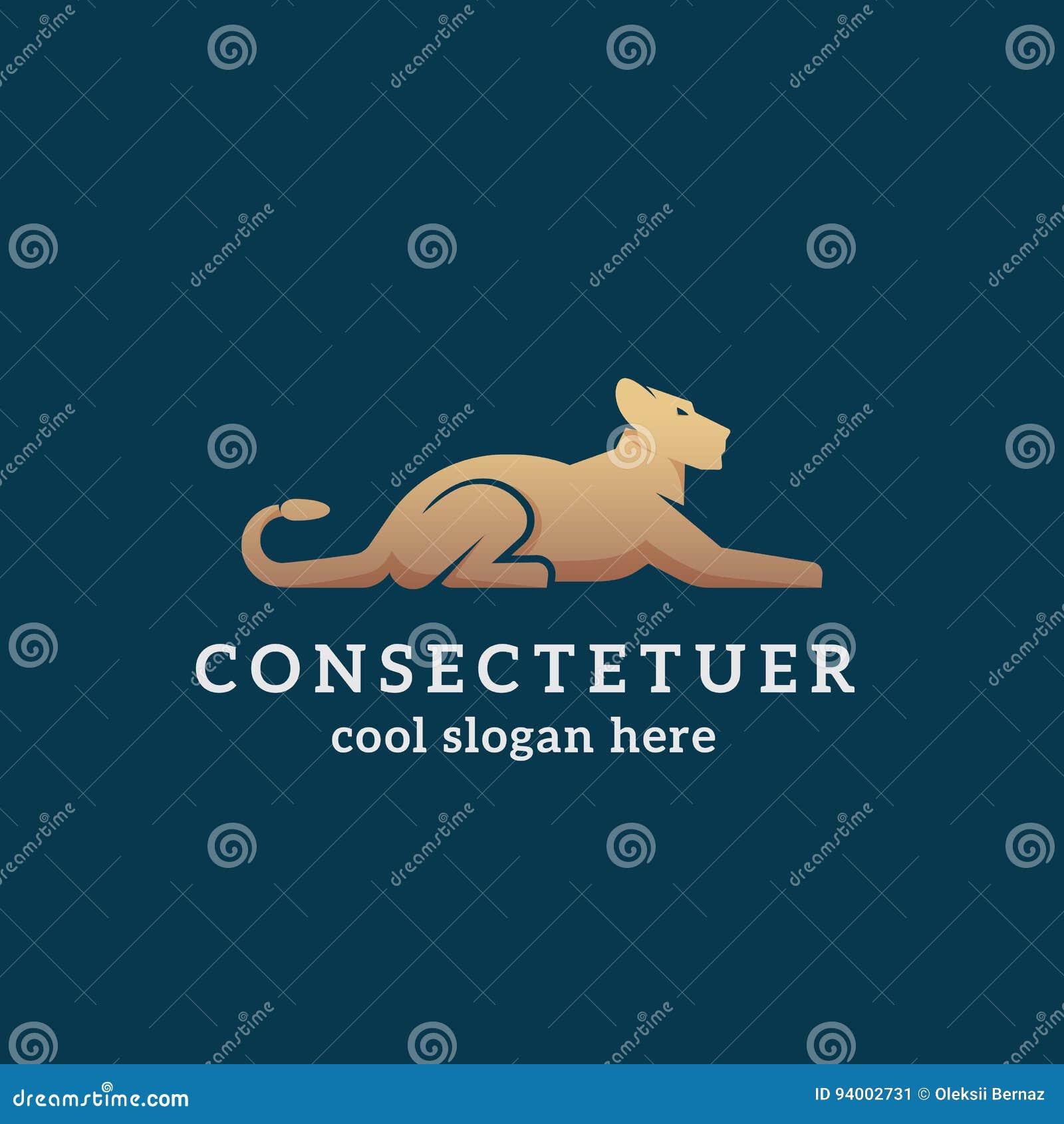 Liegender Goldener Lion Abstract Vector Sign, Emblem Oder Logo ...