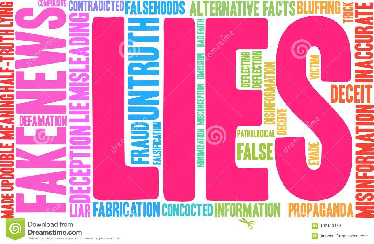 Lies Word Cloud stock vector  Illustration of fake, meaning