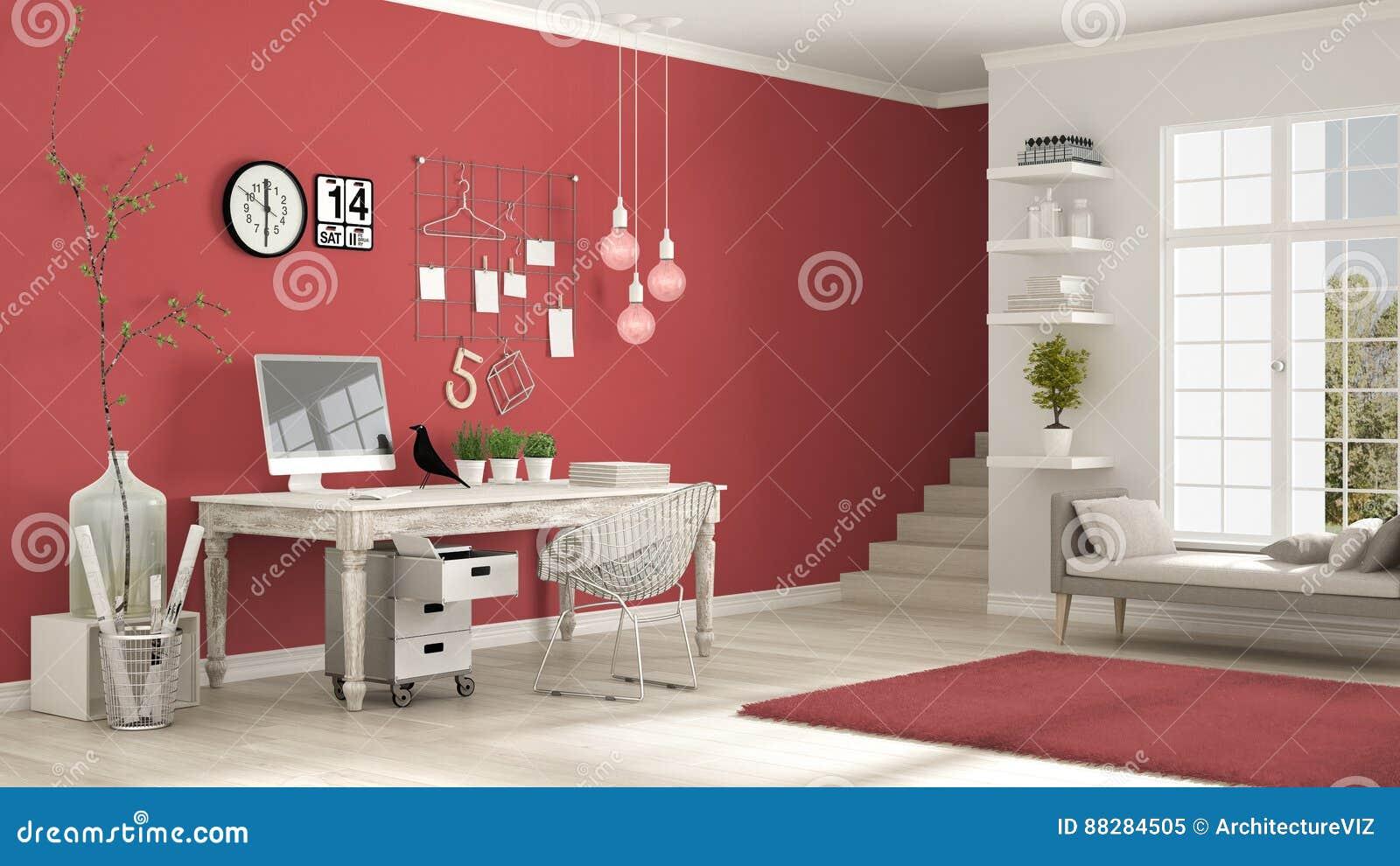 Lieu de travail à la maison pièce blanche et rouge scandinave