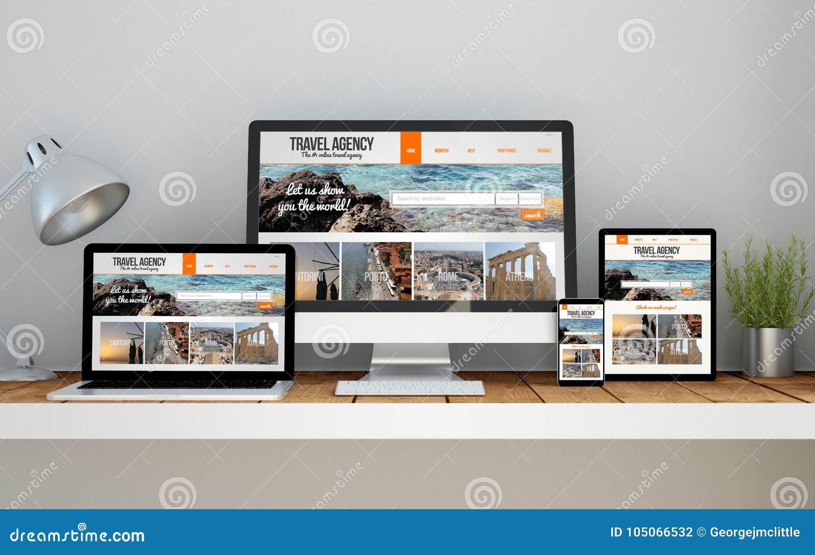 Lieu de travail avec le responsiv en ligne de conception de site Web sensible de voyage