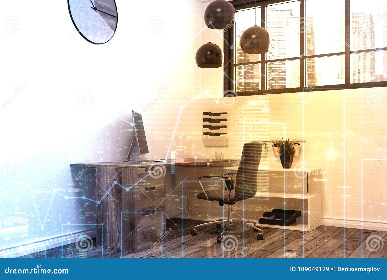 Bureau de travail avec chaise ordinateur lampe et plante isolé