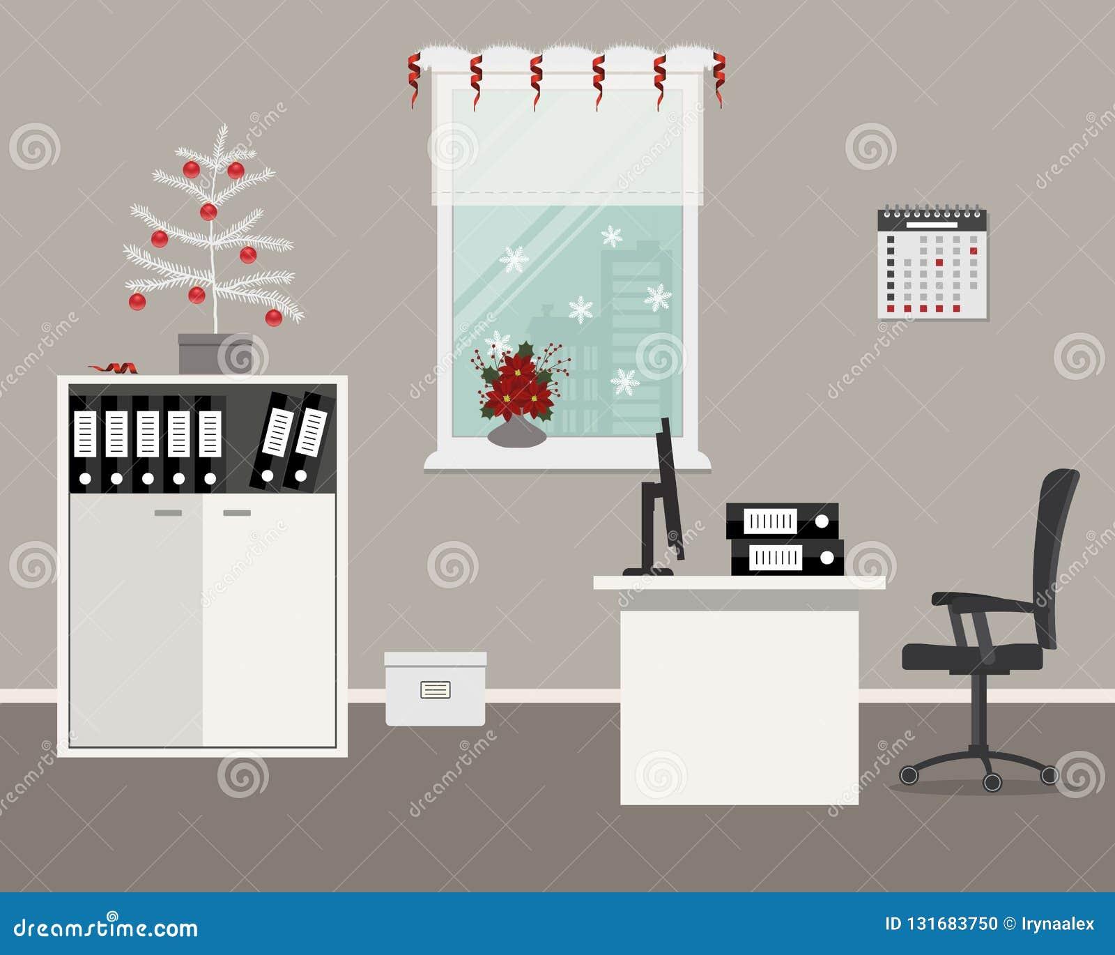 Lieu De Travail D Employe De Bureau Decore De La Decoration