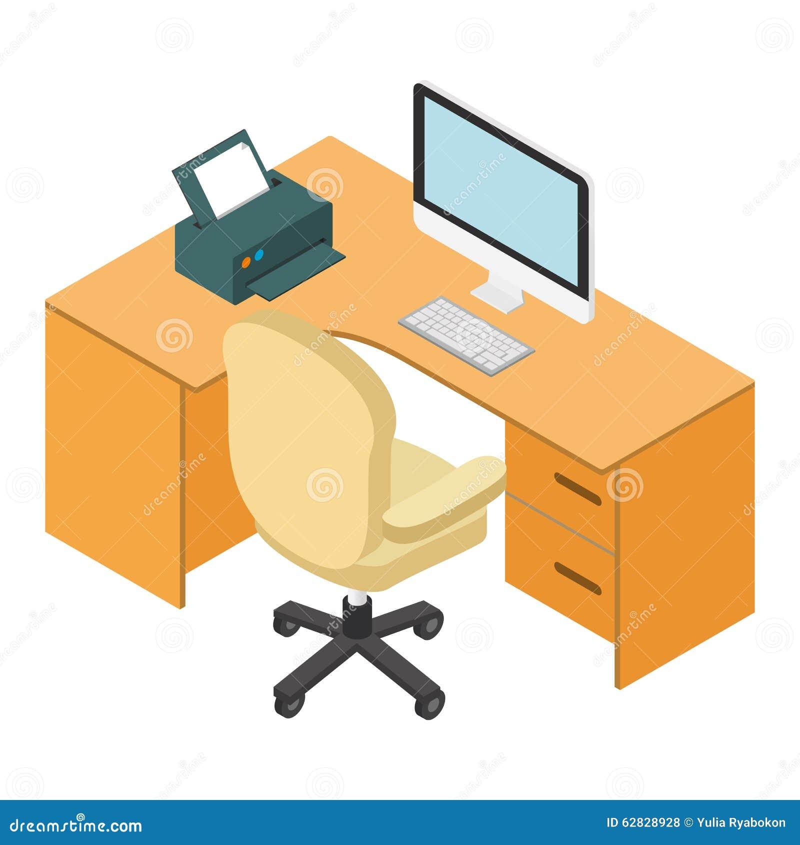 lieu de travail 3d isom trique de bureau d 39 ordinateur illustration de vecteur illustration du. Black Bedroom Furniture Sets. Home Design Ideas