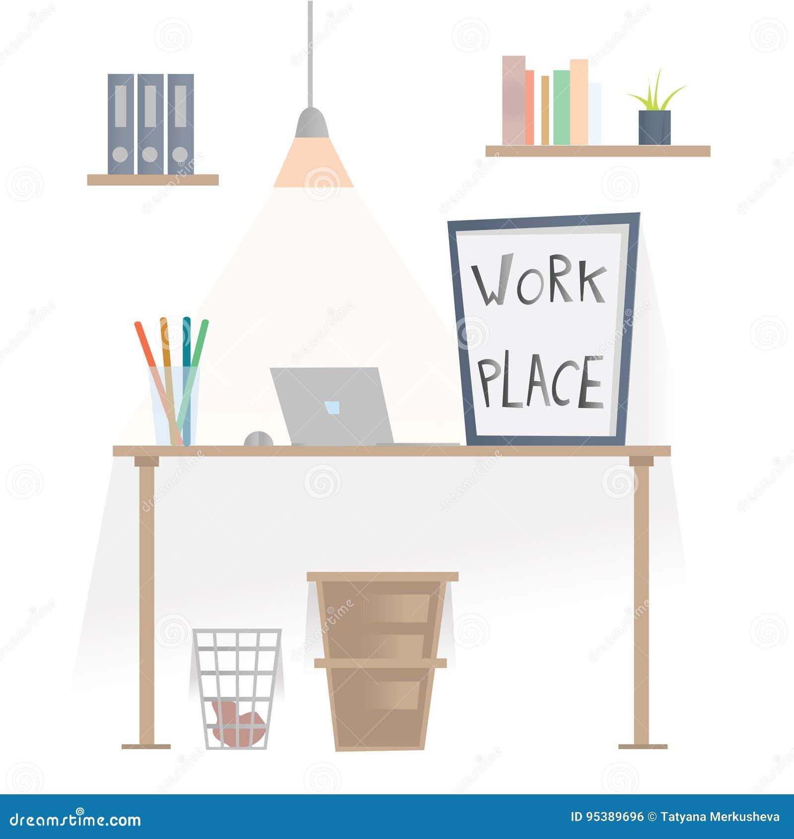 Lieu de travail dans le bureau Bureau avec l ordinateur portable, étagères avec des dossiers et corbeille sous la table Illustrat