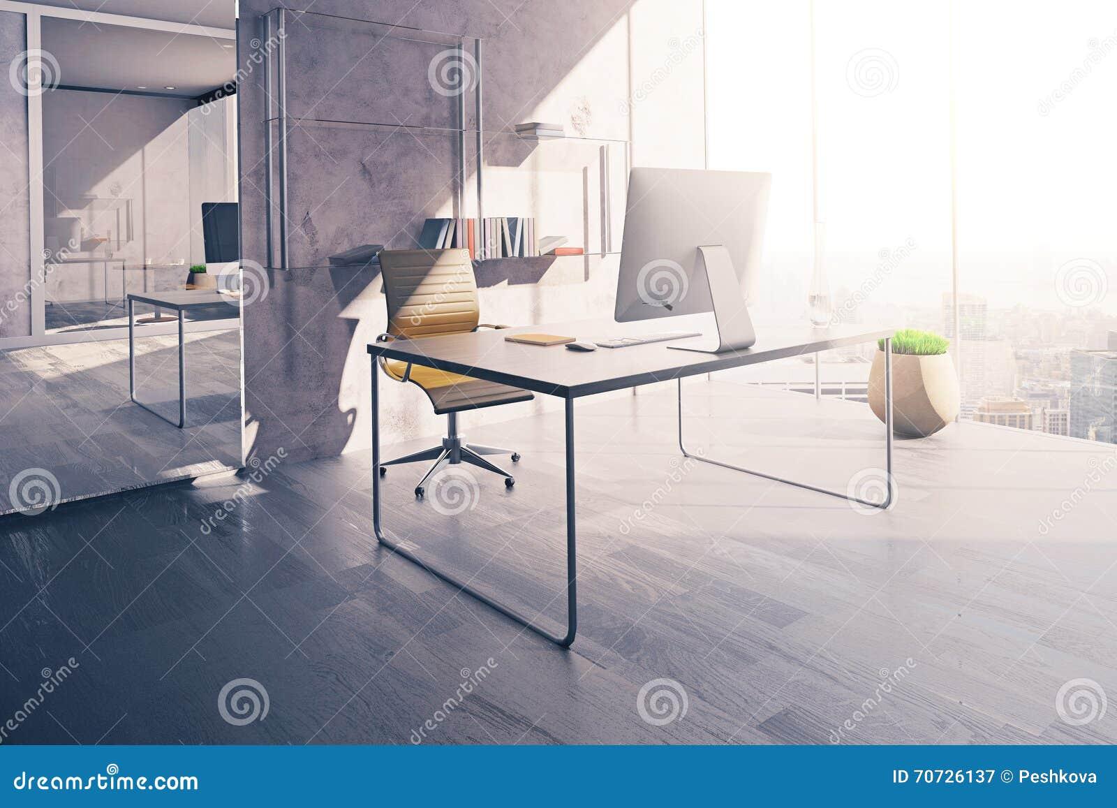 Lieu de travail dans le bureau ensoleillé illustration stock