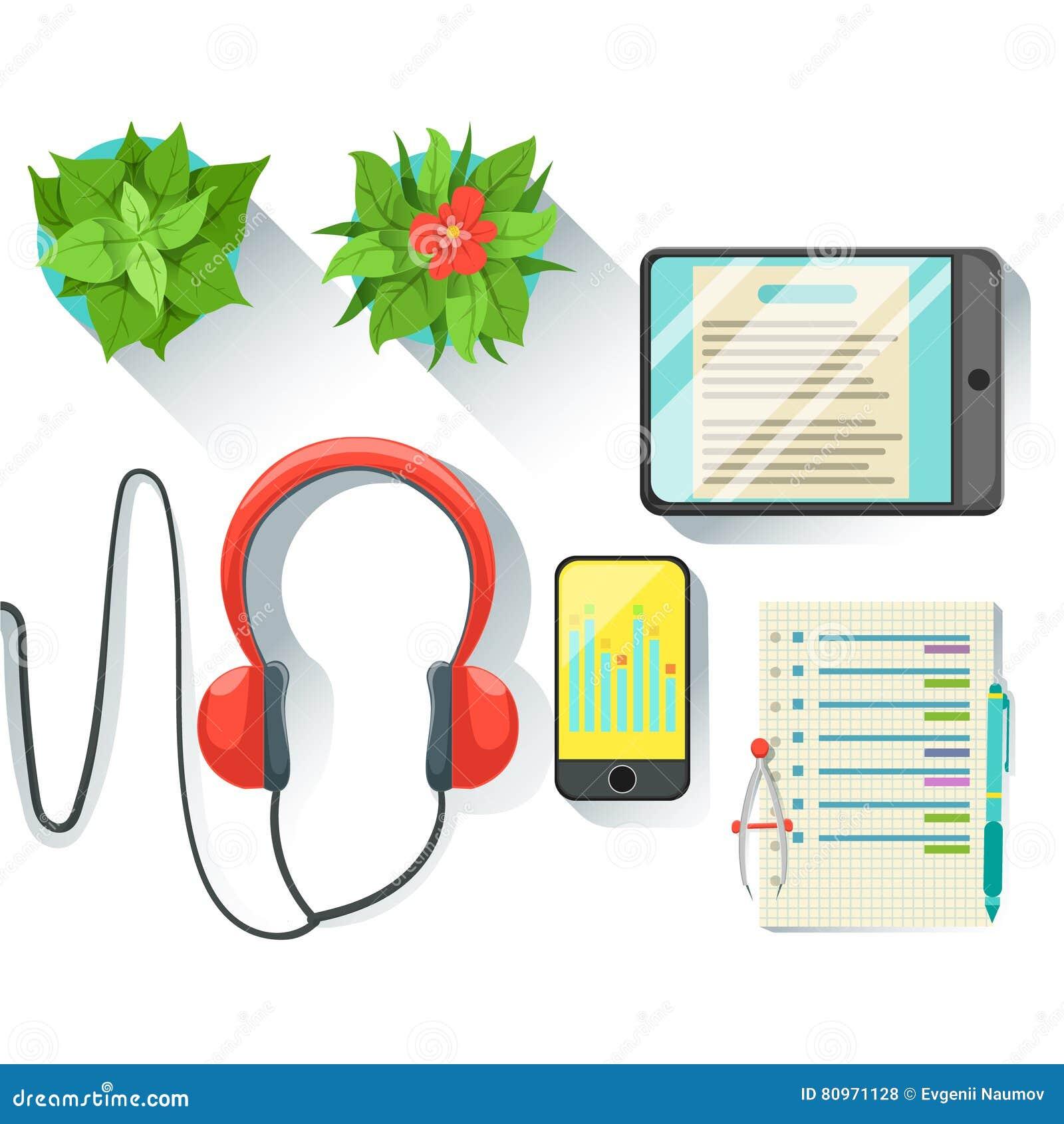 Lieu de travail des employés de bureau avec la Tablette, le Smartphone et les écouteurs, l ensemble de travail stationnaire et l