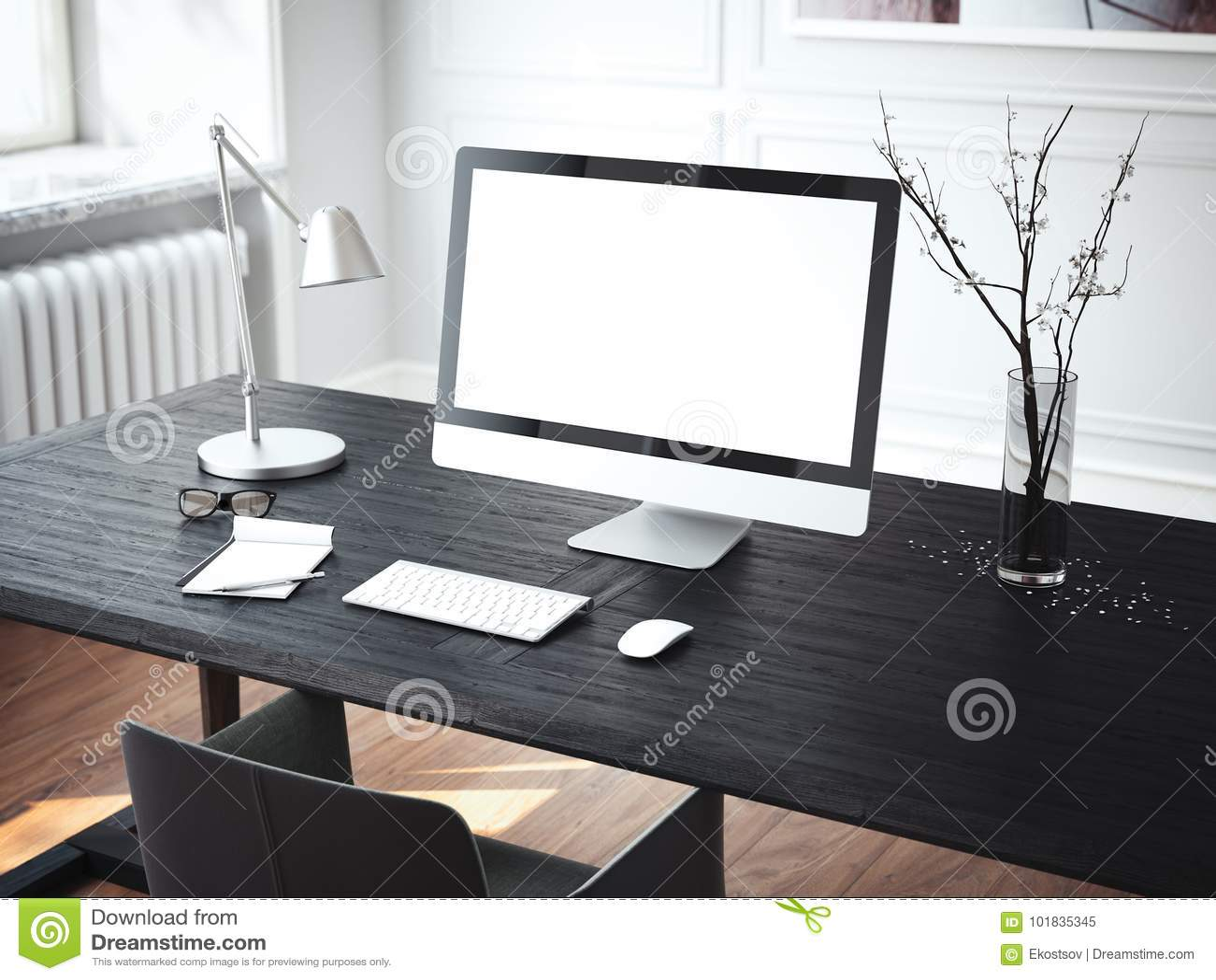 Lieu de travail moderne avec l 39 ordinateur rendu 3d for Interieur ordinateur
