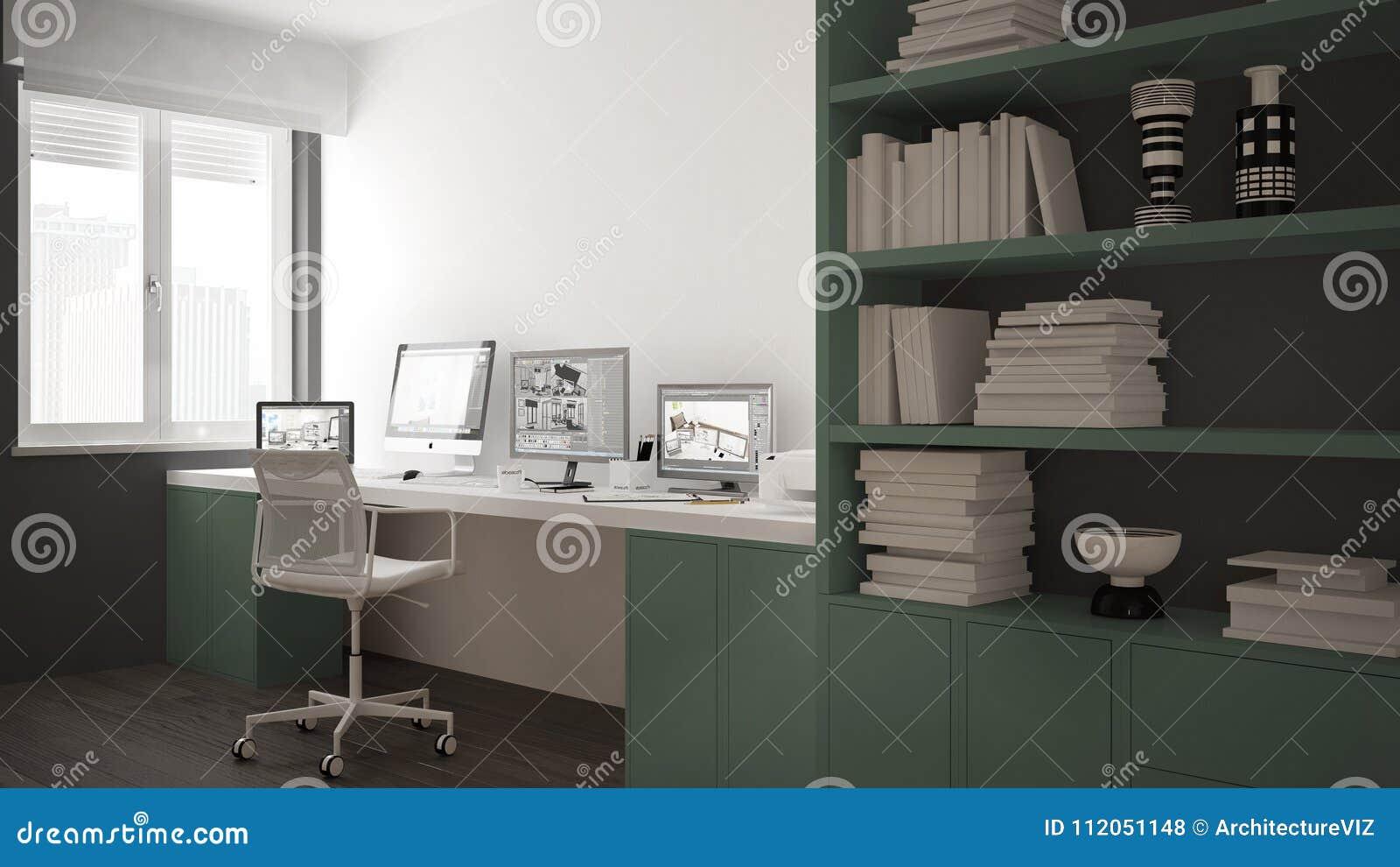 Lieu De Travail Moderne Dans La Maison Minimaliste, Bureau ...