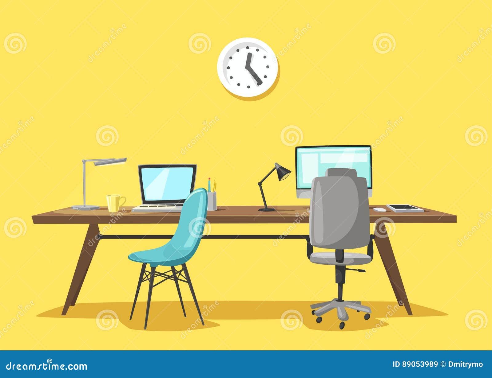 Lieu De Travail Moderne Travail De Bureau Illustration De Vecteur De ...